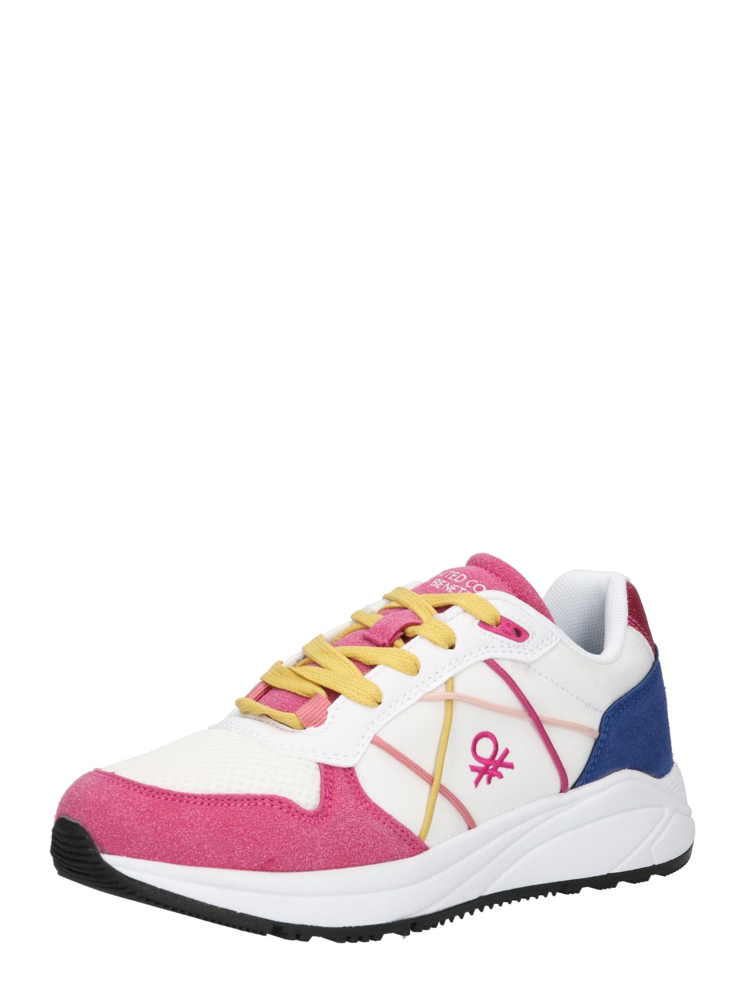 Benetton Footwear Sportbačiai be auliuko balta / tamsiai rožinė / tamsiai mėlyna