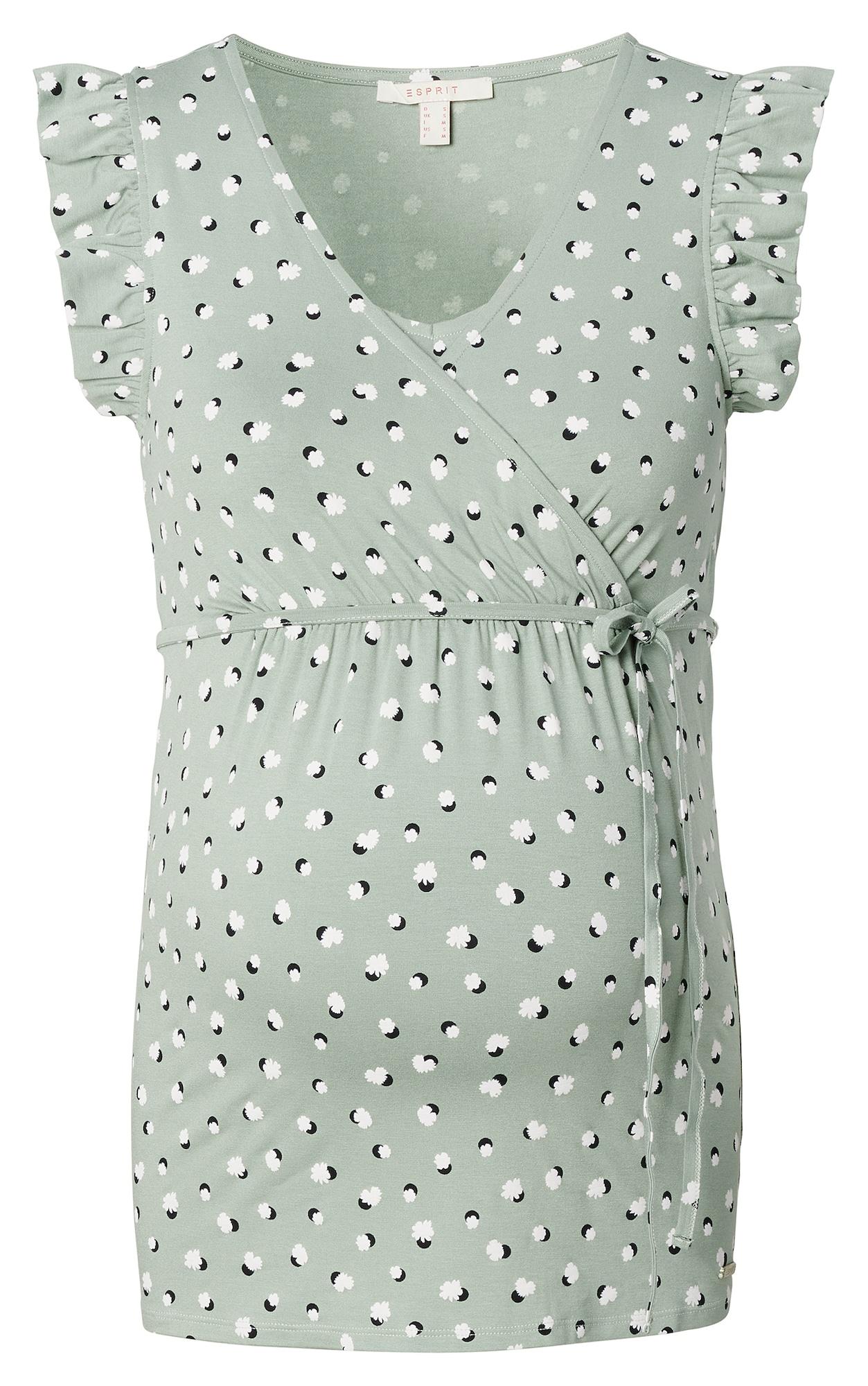 Esprit Maternity Marškinėliai balta / šviesiai žalia