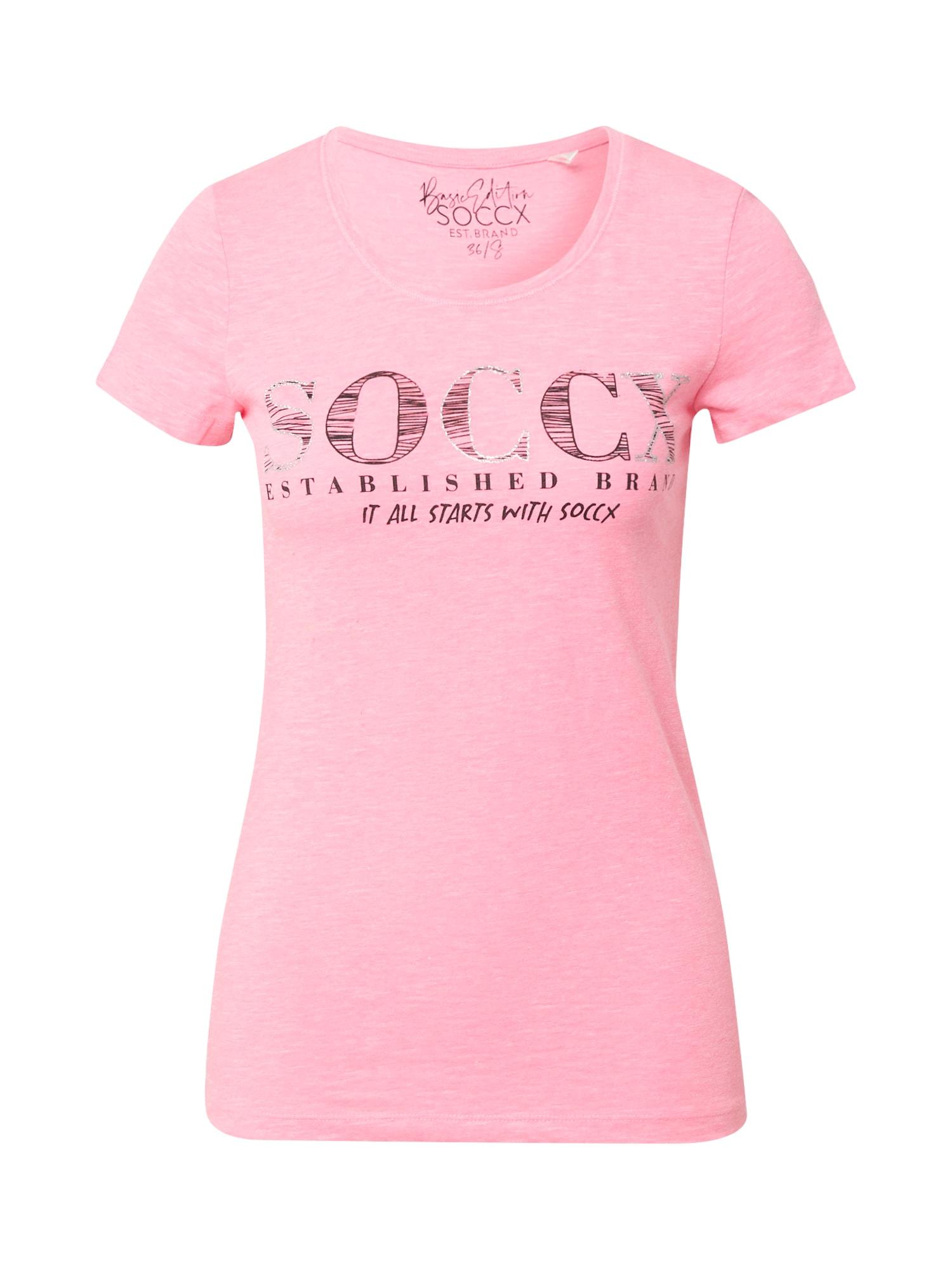 Soccx Marškinėliai rožinė / juoda / sidabrinė