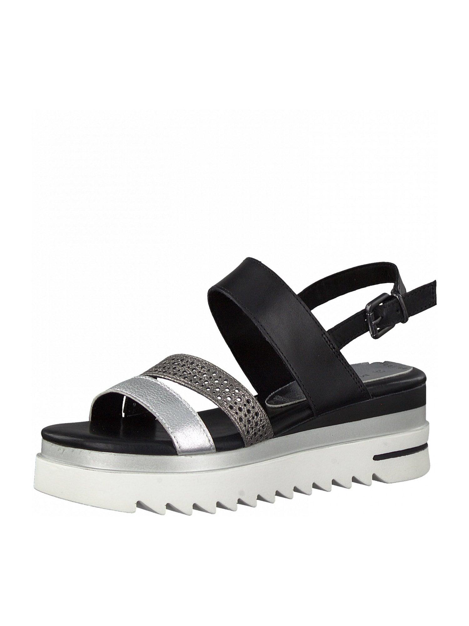 MARCO TOZZI Sandalai juoda / sidabrinė / rožinio aukso spalva