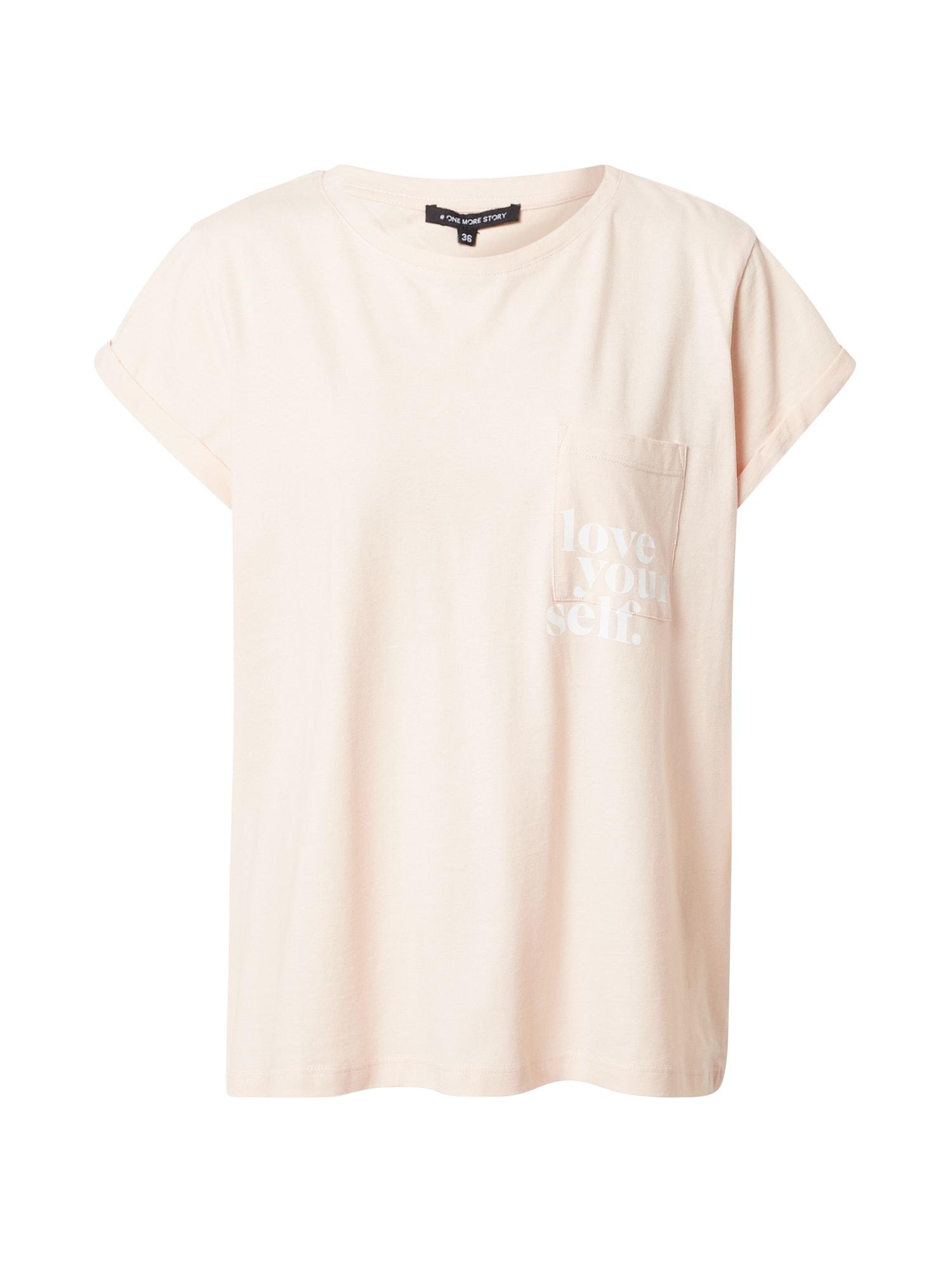 ONE MORE STORY Marškinėliai rožių spalva / balta