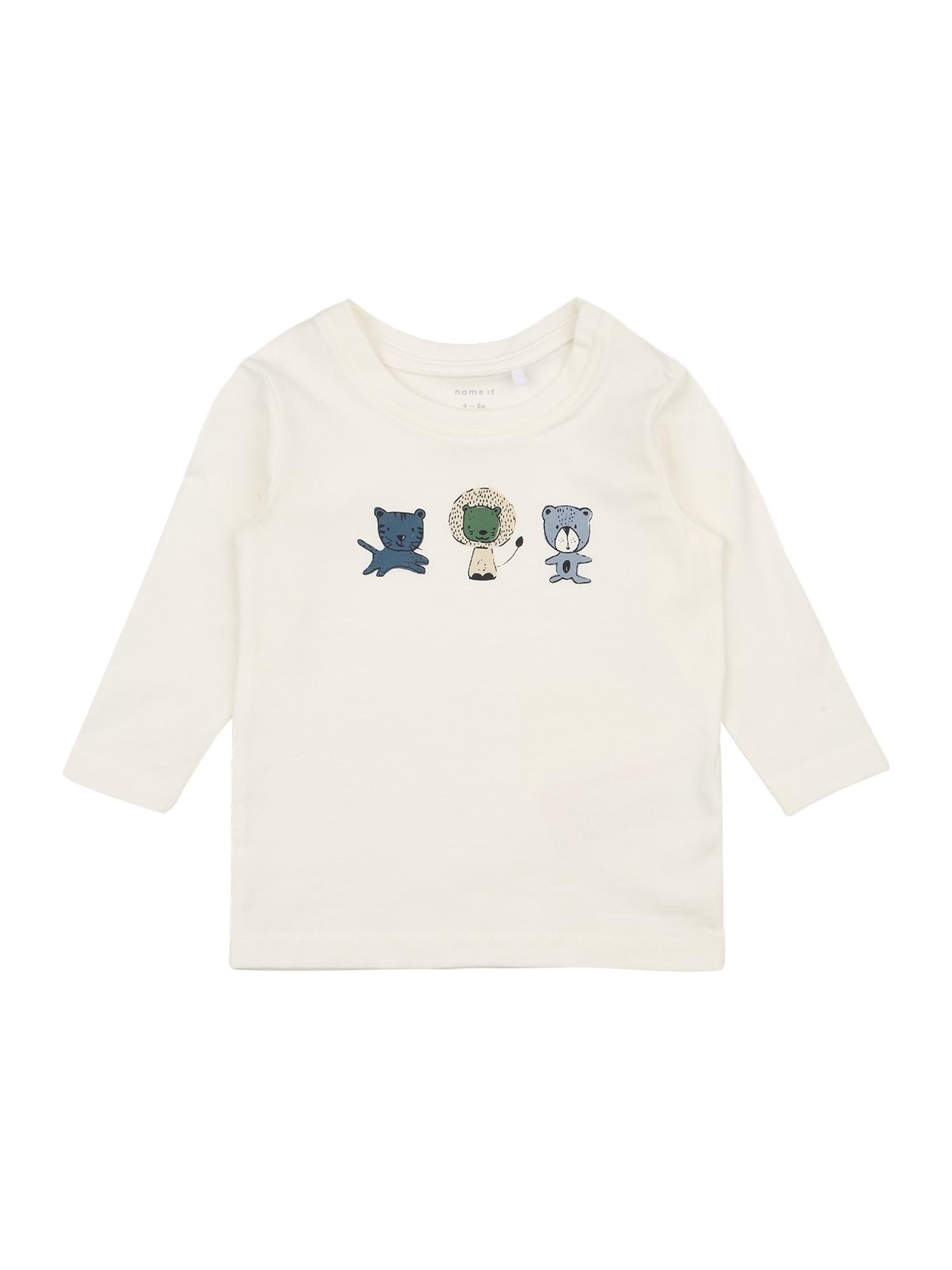 NAME IT Marškinėliai 'TEMEN' balta / mėlyna dūmų spalva / žalia / pastelinė geltona