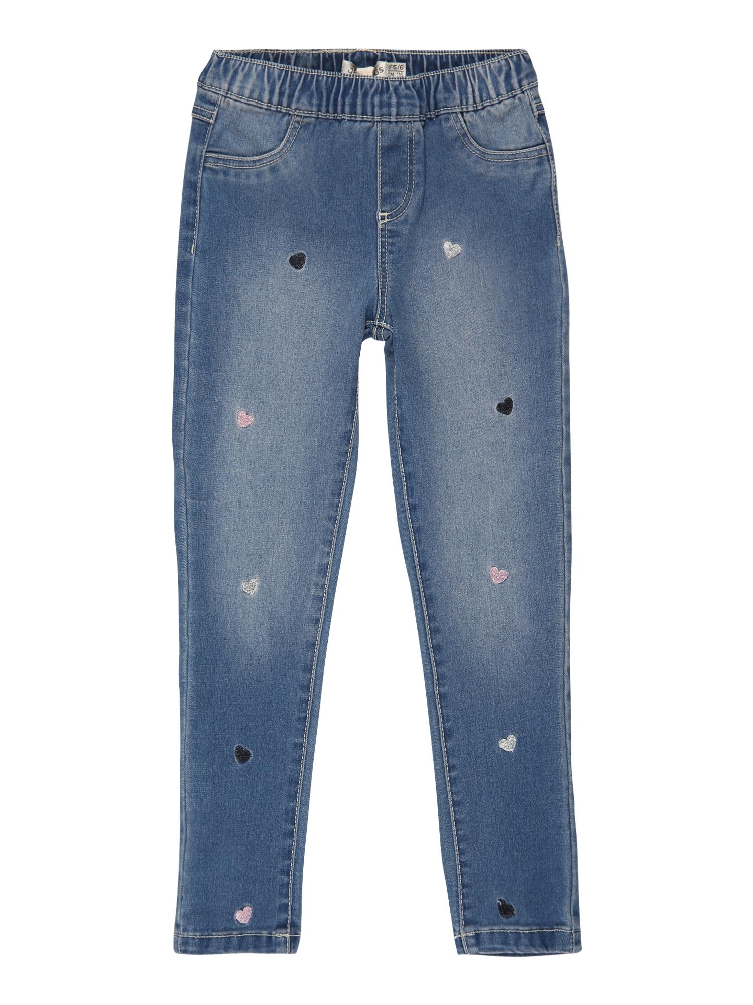 OVS Džinsai tamsiai (džinso) mėlyna / juoda / rožių spalva / sidabrinė