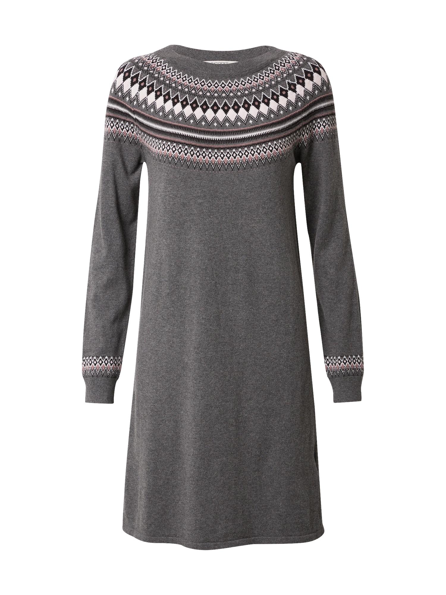 ESPRIT Úpletové šaty  tmavě šedá / mix barev