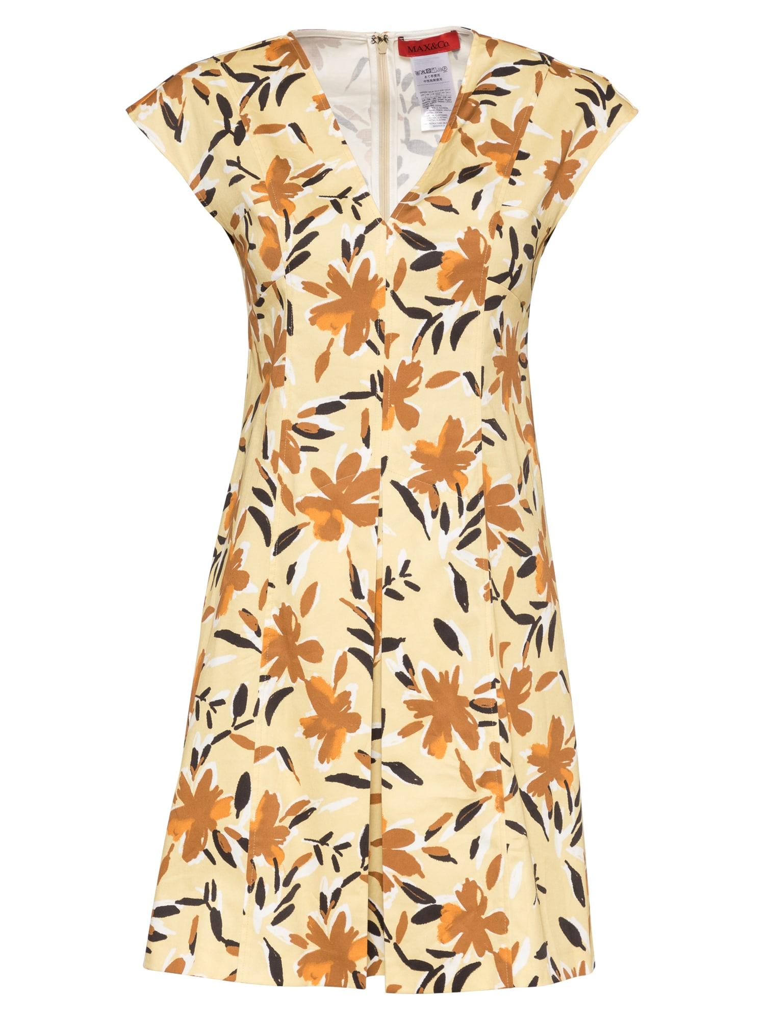 MAX&Co. Suknelė geltona / ruda / tamsiai ruda / balta / oranžinė