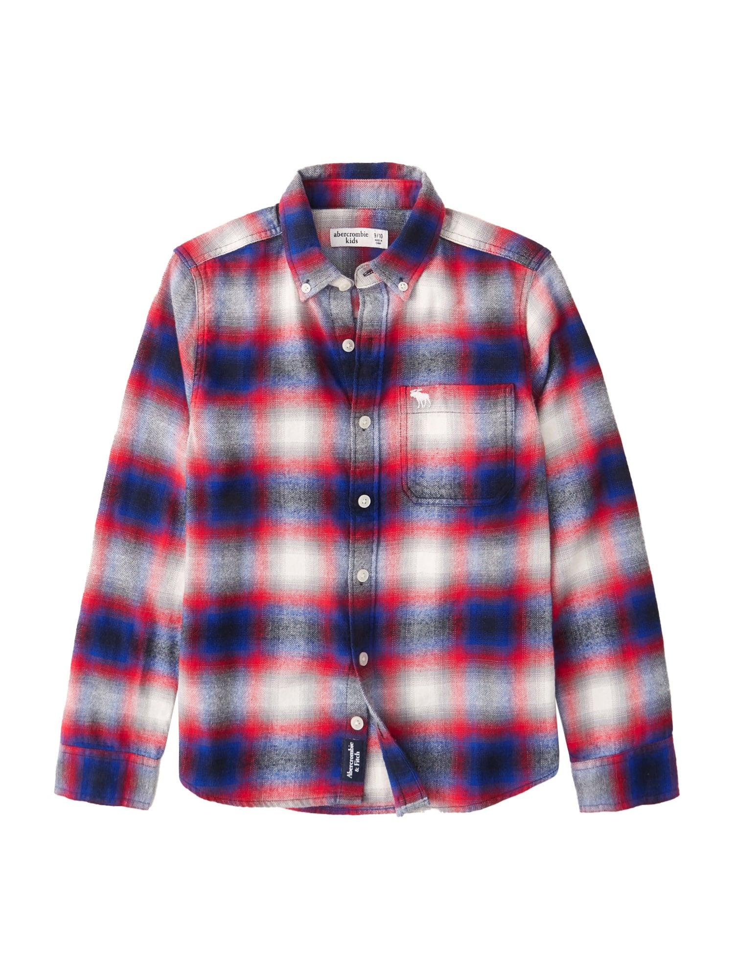 Abercrombie & Fitch Marškiniai tamsiai mėlyna / balta / granatų spalva