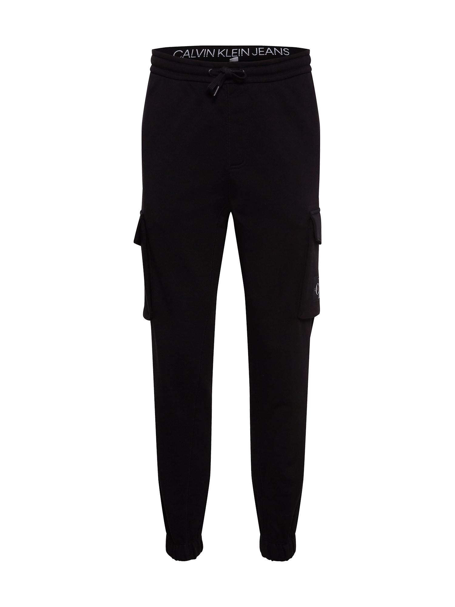 Calvin Klein Jeans Laisvo stiliaus kelnės juoda / balta