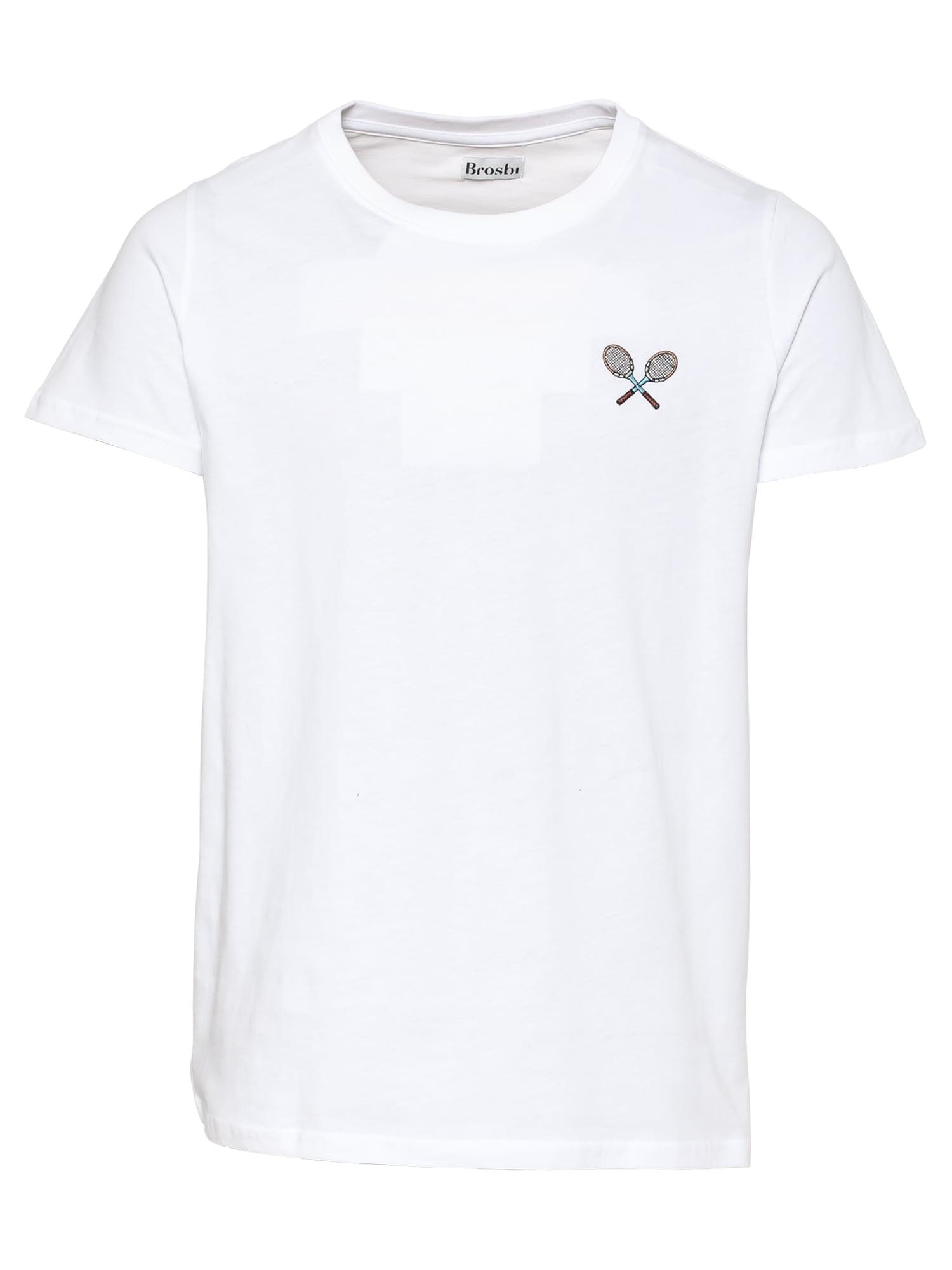 Brosbi Marškinėliai balta / ruda / šviesiai mėlyna