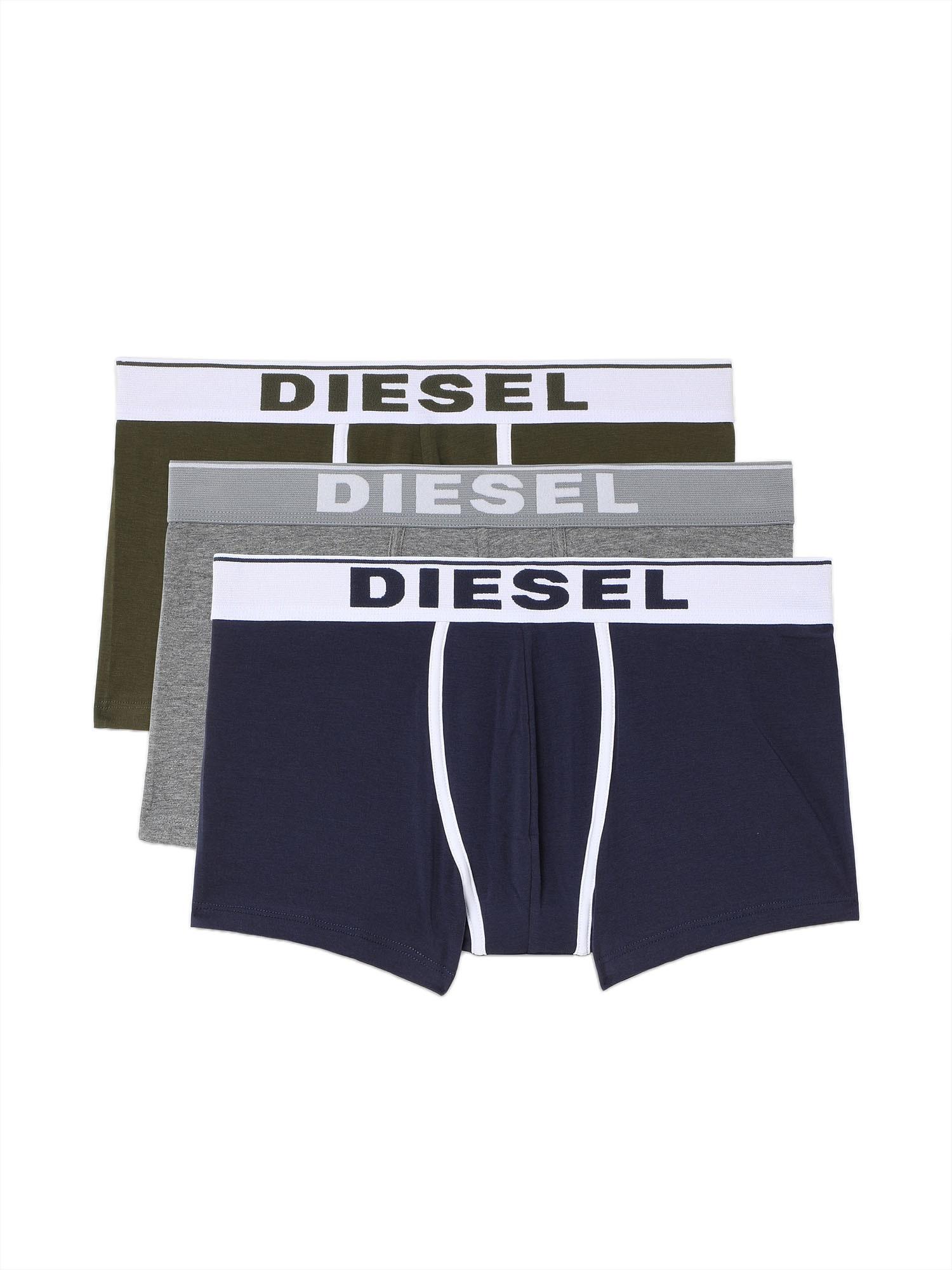DIESEL Boxer trumpikės tamsiai mėlyna / balta / rusvai žalia / margai pilka