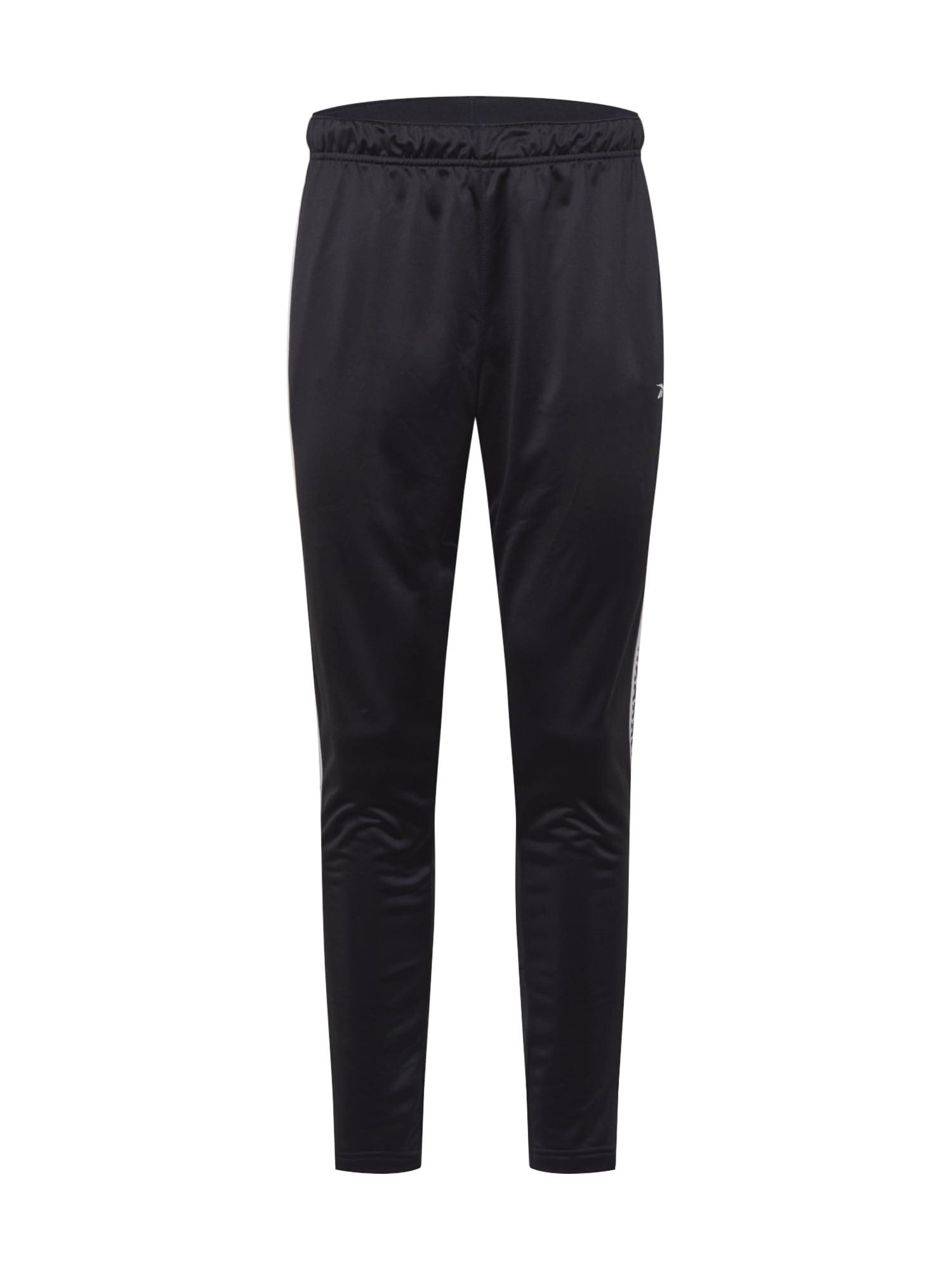 REEBOK Sportovní kalhoty  černá / bílá