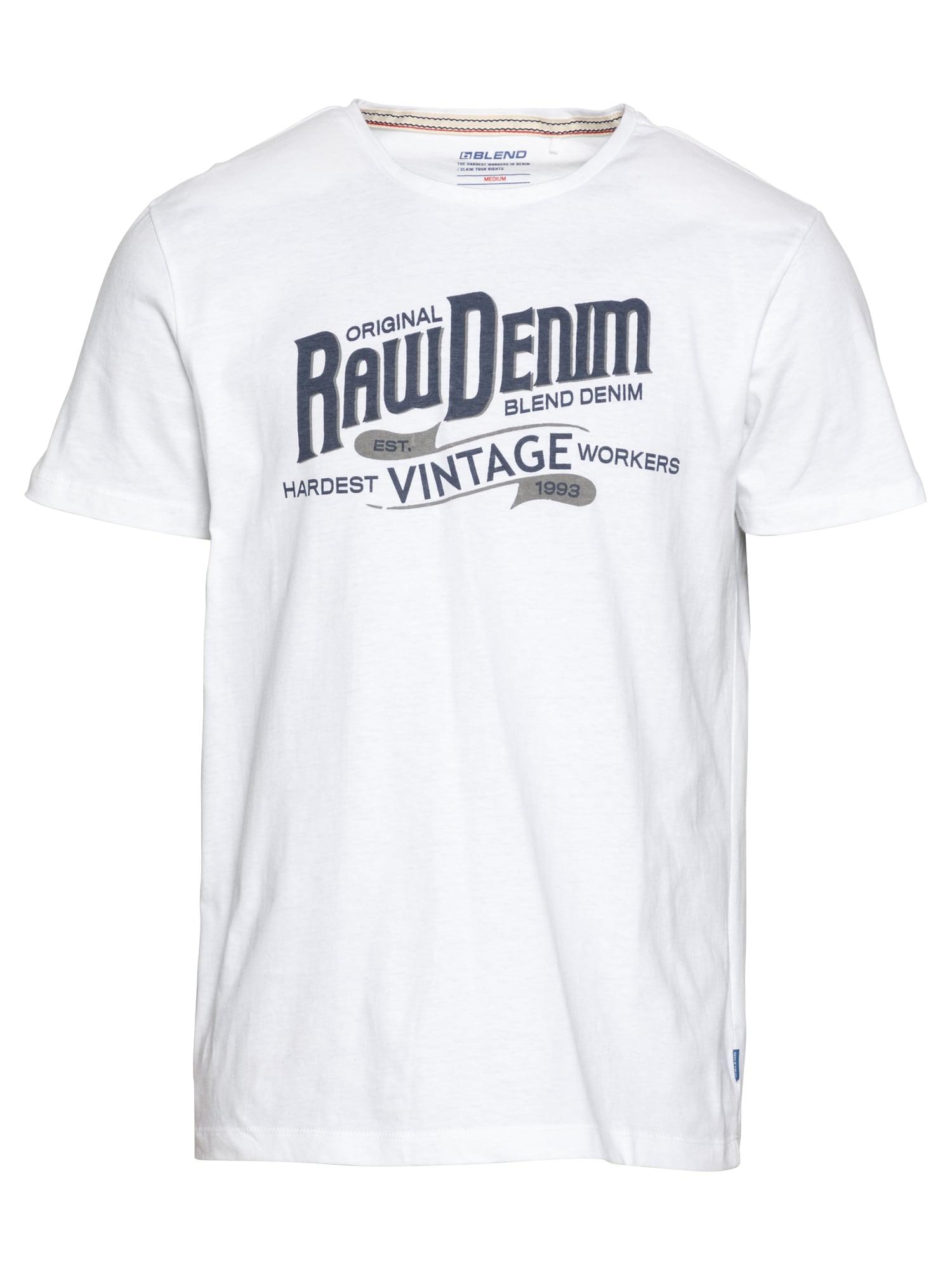 BLEND Marškinėliai balta / tamsiai mėlyna