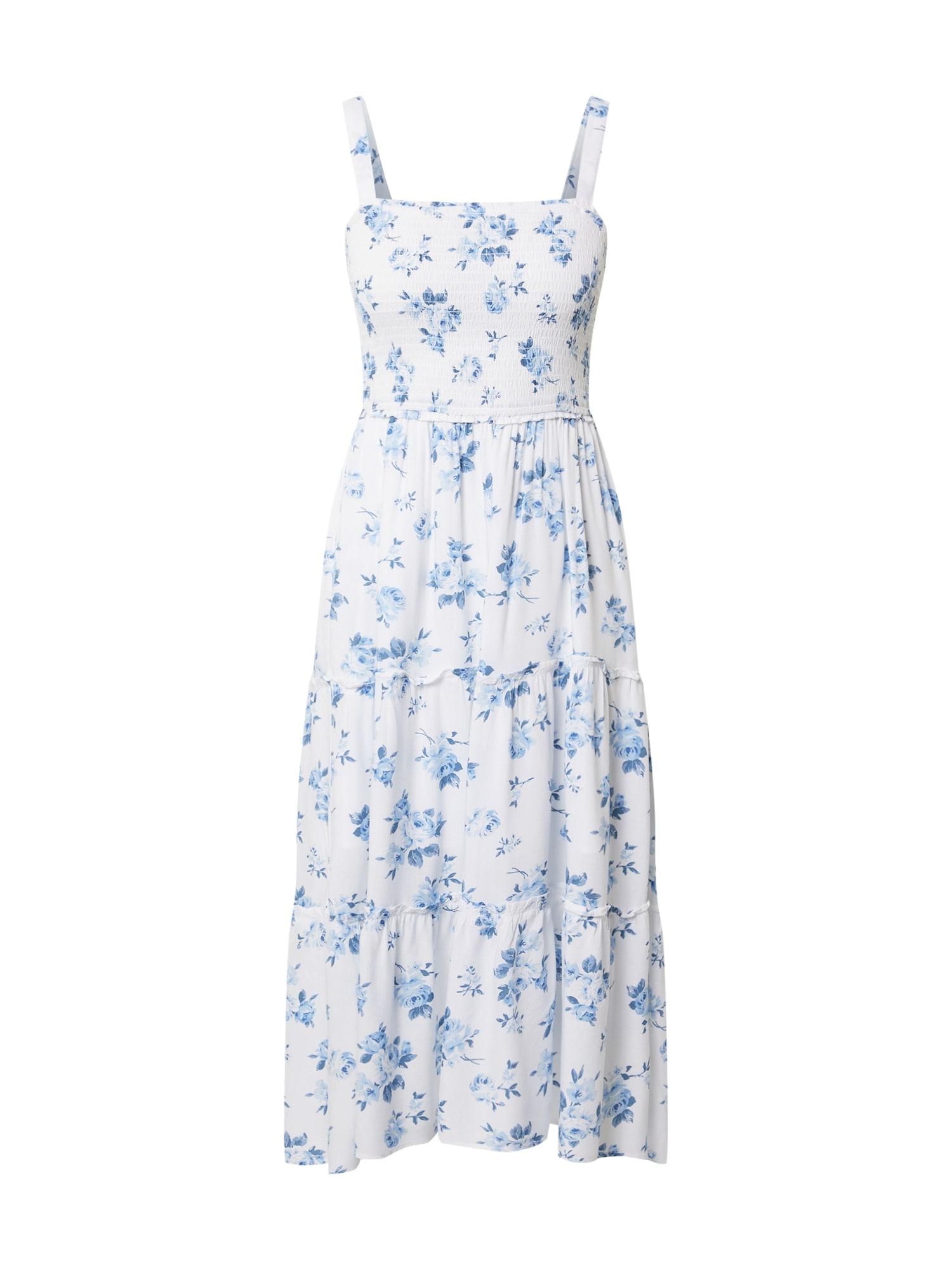 HOLLISTER Vasarinė suknelė balta / mėlyna