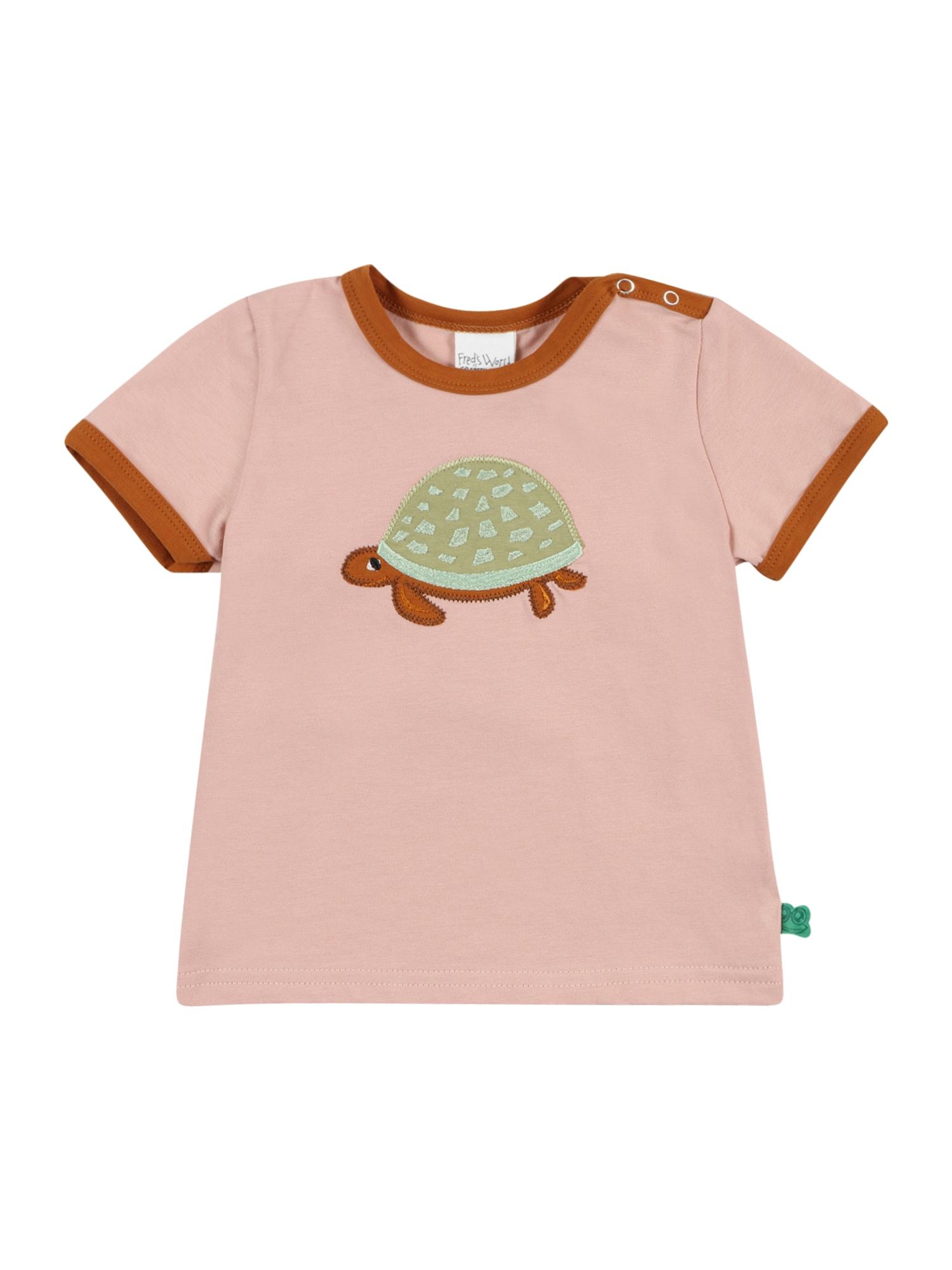 Fred's World by GREEN COTTON Marškinėliai 'Hello Turtle' rožių spalva / ruda / rusvai žalia
