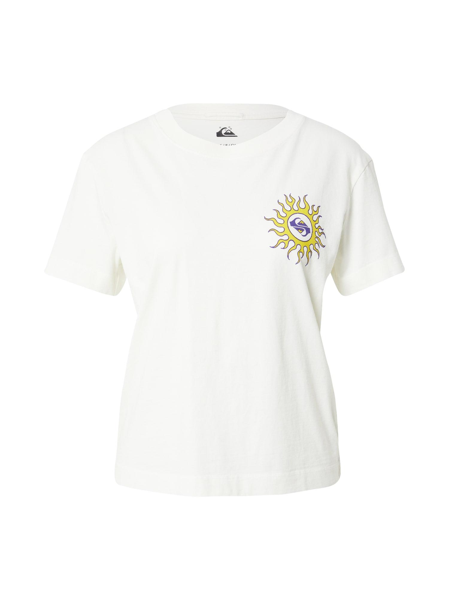QUIKSILVER Marškinėliai balta / geltona / tamsiai violetinė