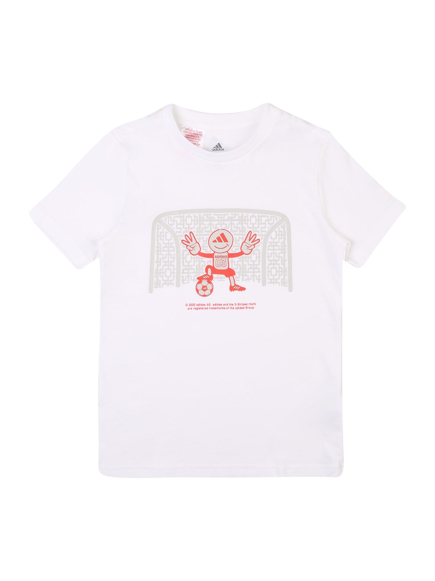 ADIDAS PERFORMANCE Sportiniai marškinėliai balta / oranžinė