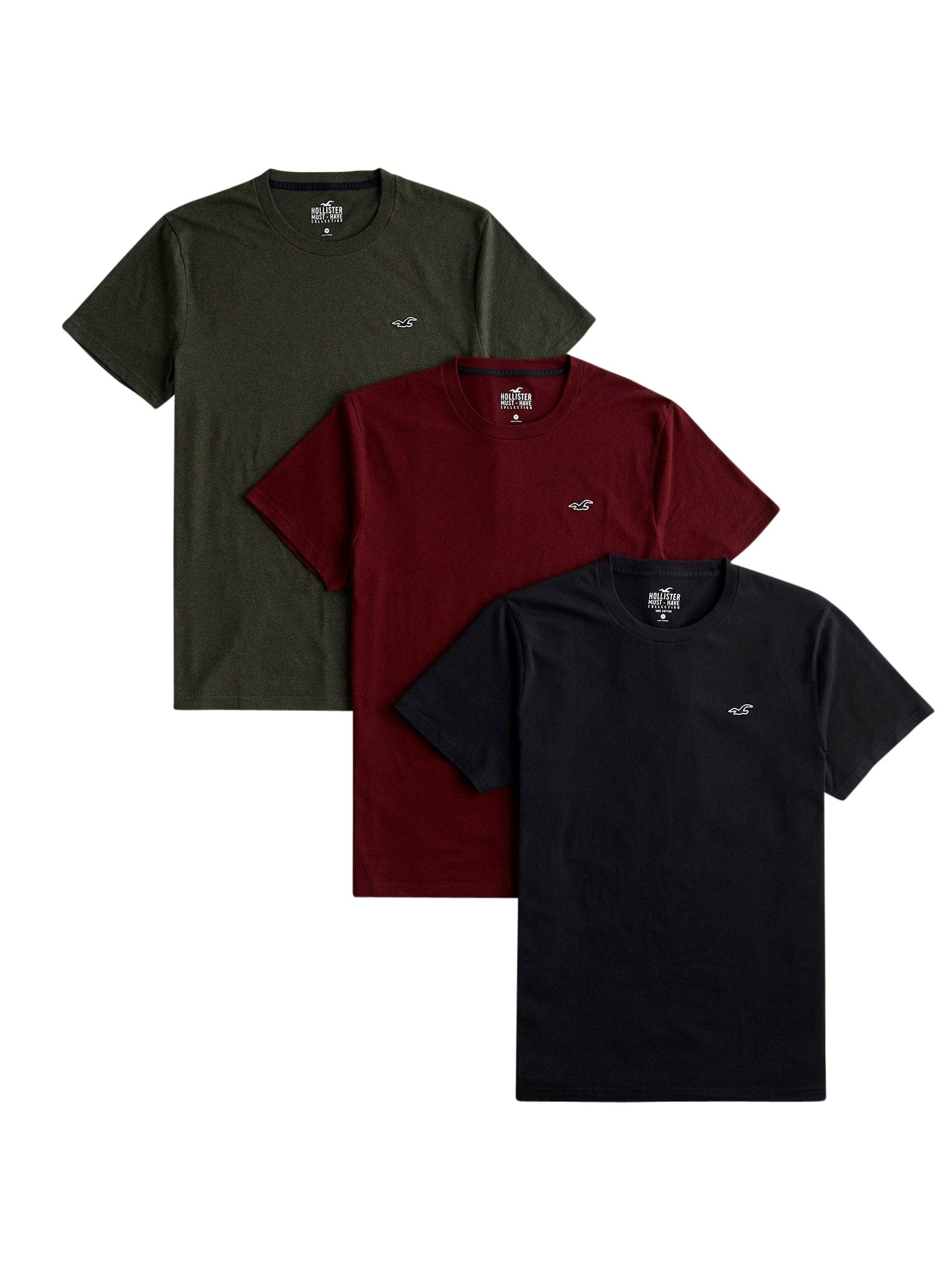 HOLLISTER Tričko  tmavě červená / černá / khaki