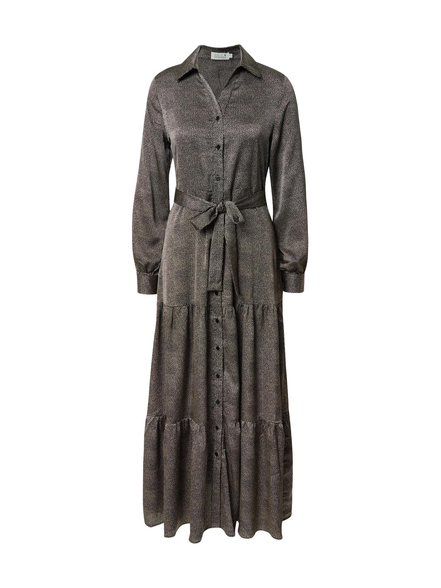 Molly BRACKEN Palaidinės tipo suknelė juoda / nebalintos drobės spalva