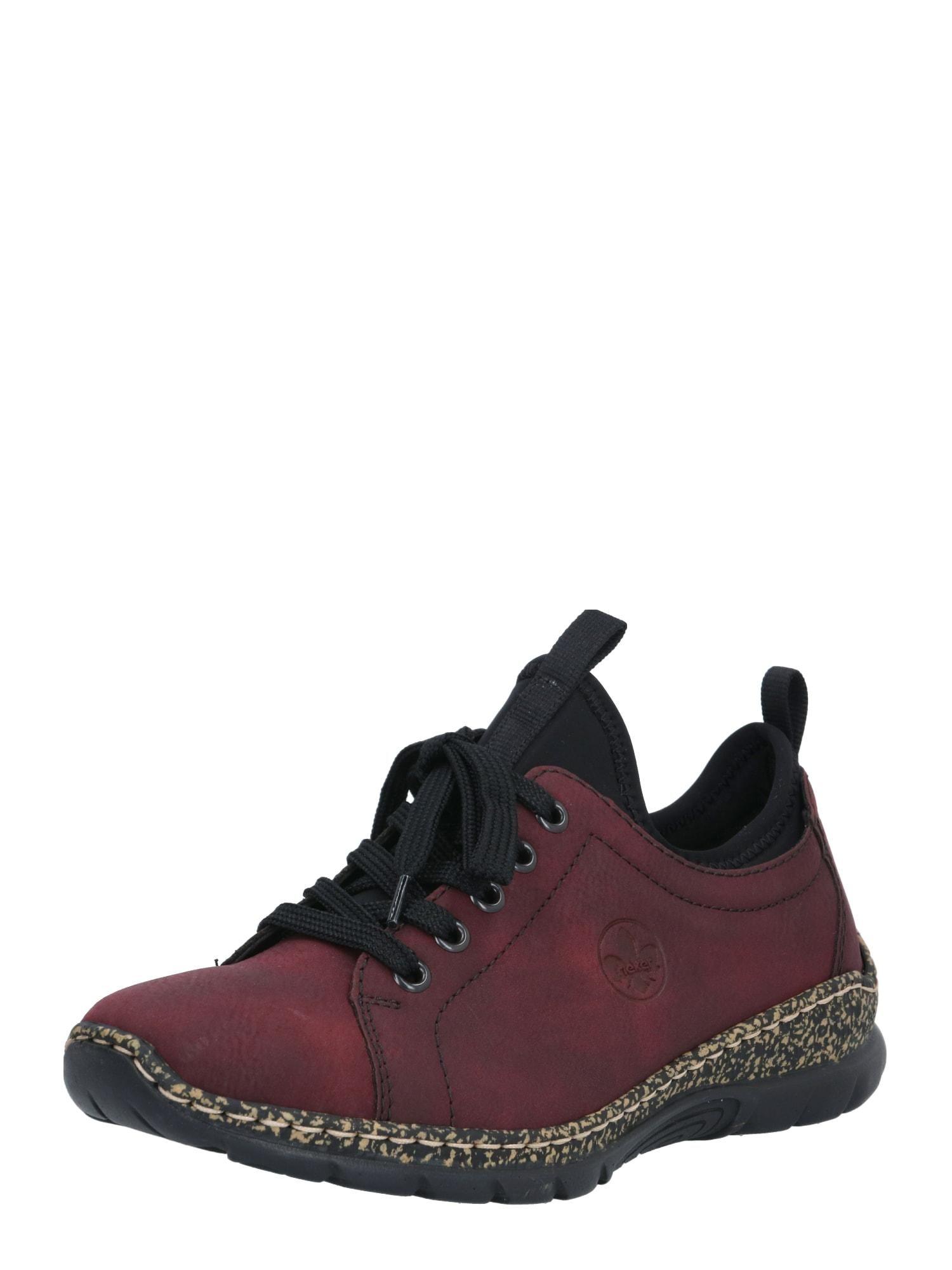 RIEKER Sportinio stiliaus batai su raišteliais vyšninė spalva / juoda