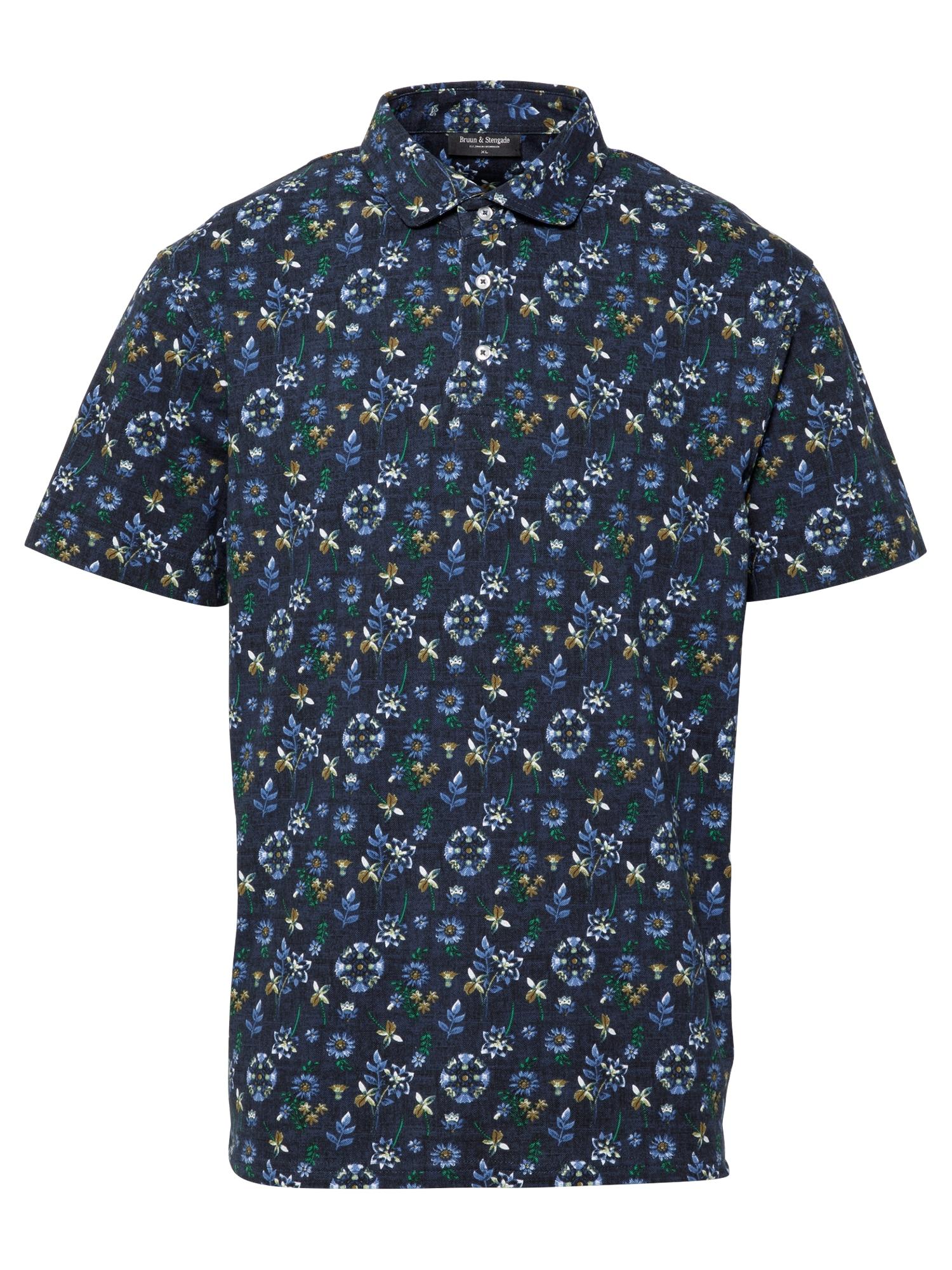 Bruun & Stengade Marškinėliai tamsiai mėlyna / balta / žalia / ruda / melsvai pilka