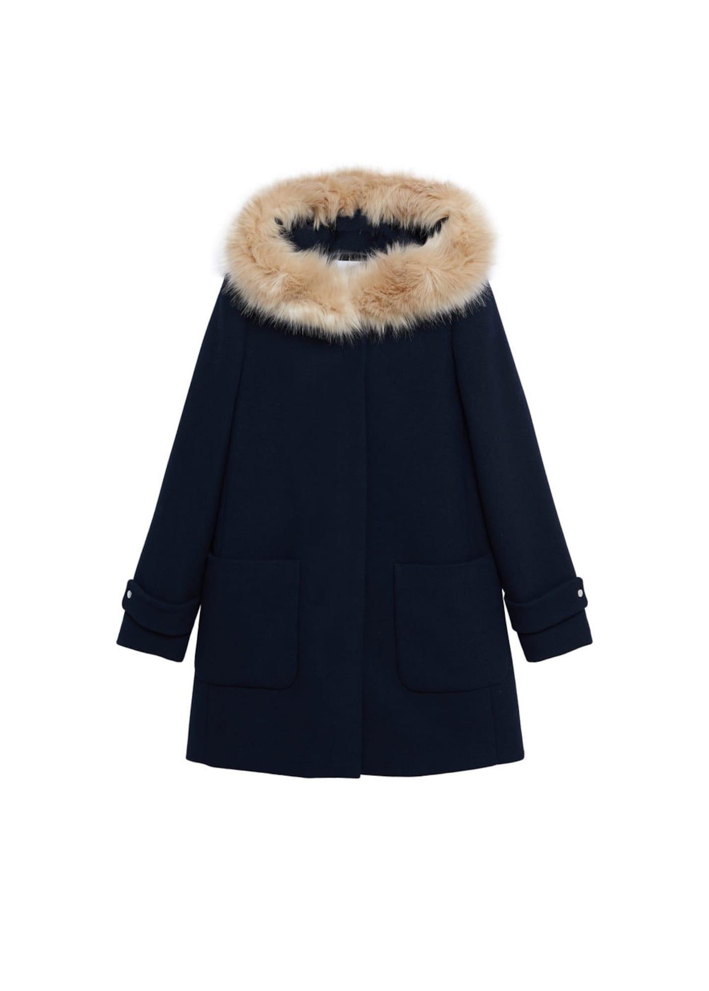 MANGO Přechodný kabát 'Work'  tmavě modrá / champagne