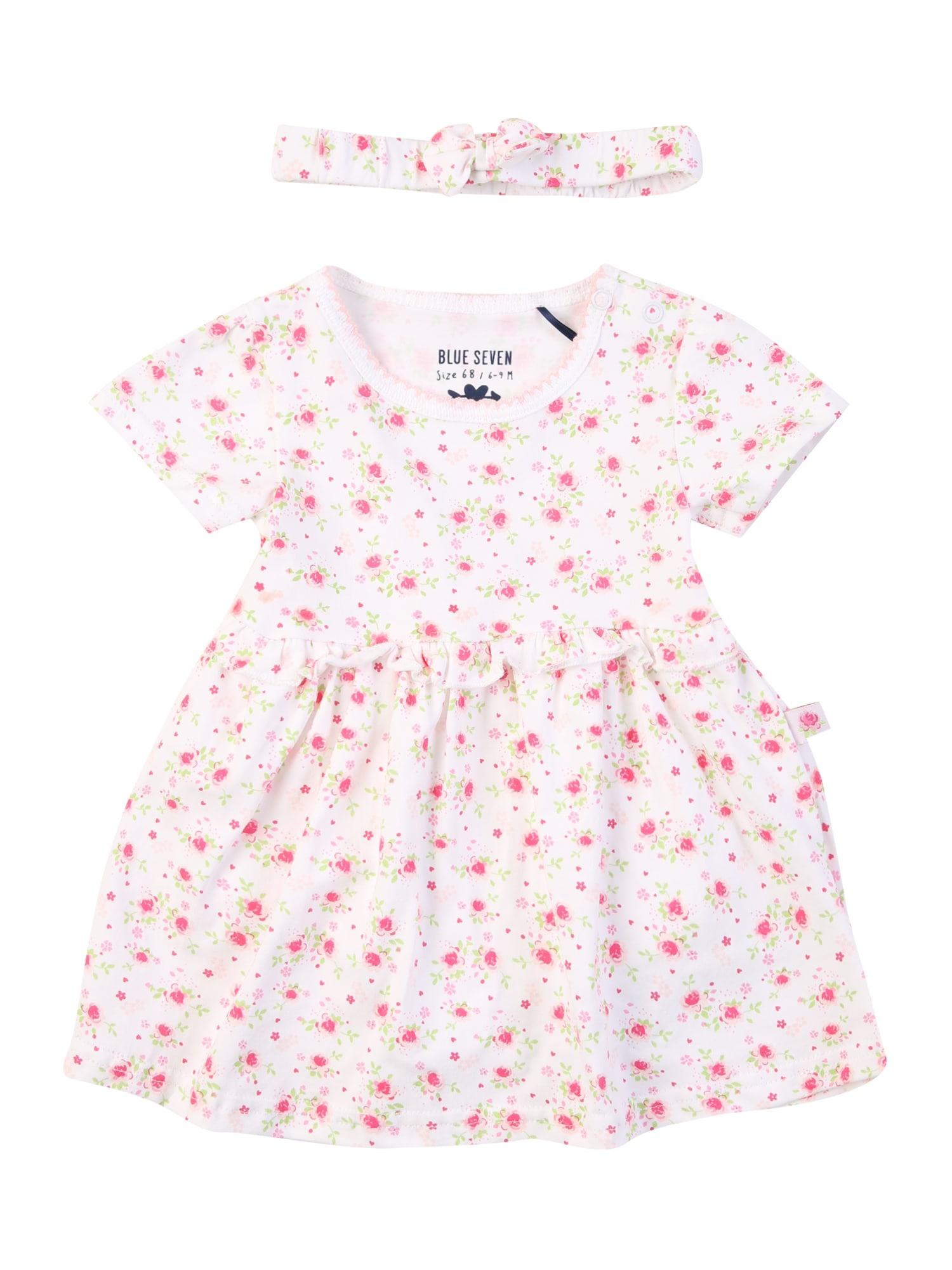 BLUE SEVEN Suknelė balta / rožinė / rožių spalva / šviesiai žalia