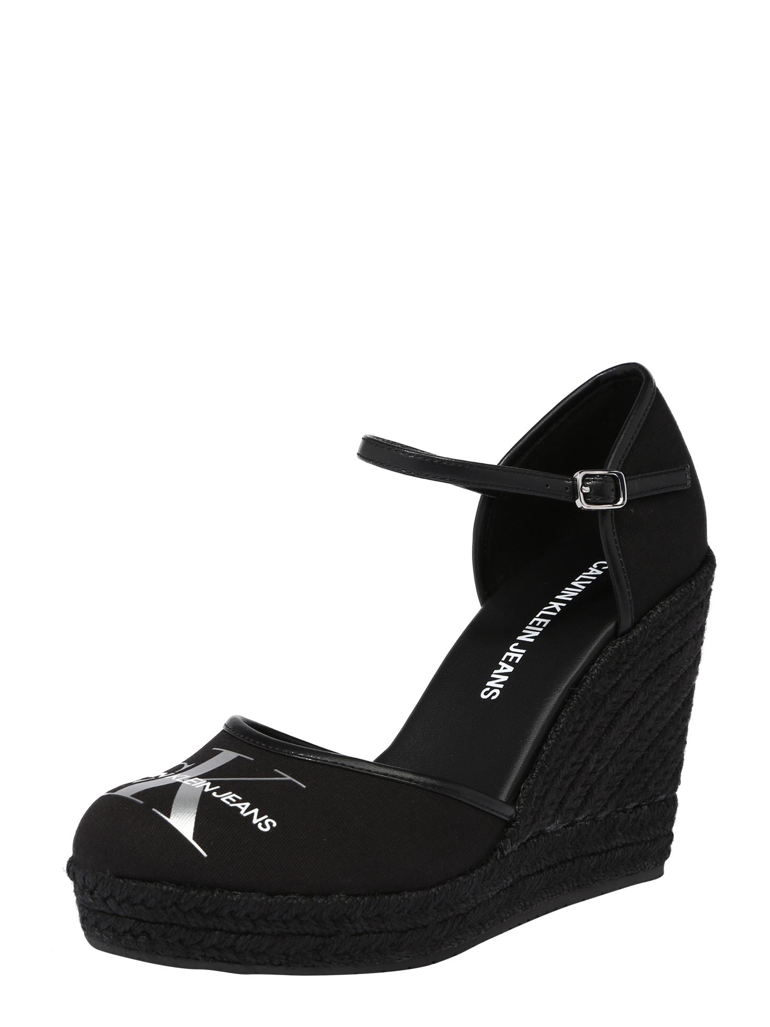 Calvin Klein Sandalai juoda / sidabrinė