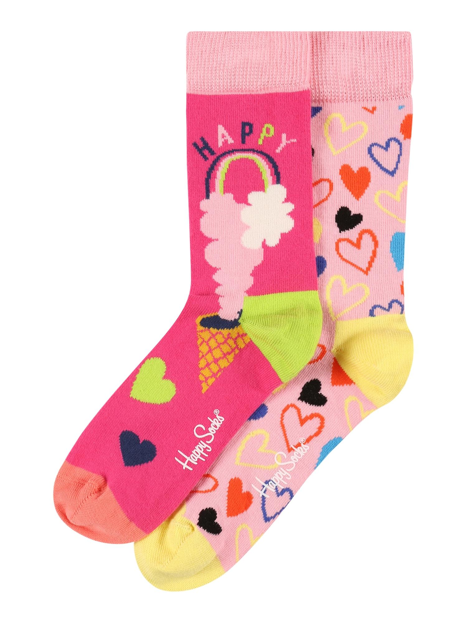 Happy Socks Kojinės 'Happy Love' šviesiai rožinė / neoninė rožinė / neoninė geltona / neoninė žalia / juoda