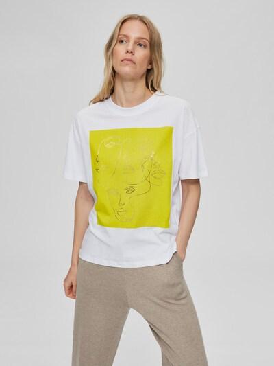 Selected Femme T-Shirt mit abstraktem Strichzeichnungsgesichter-Aufdruck