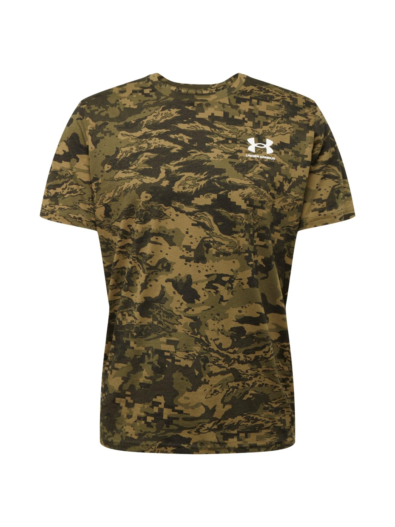UNDER ARMOUR Funkční tričko  olivová / khaki / tmavě zelená / bílá