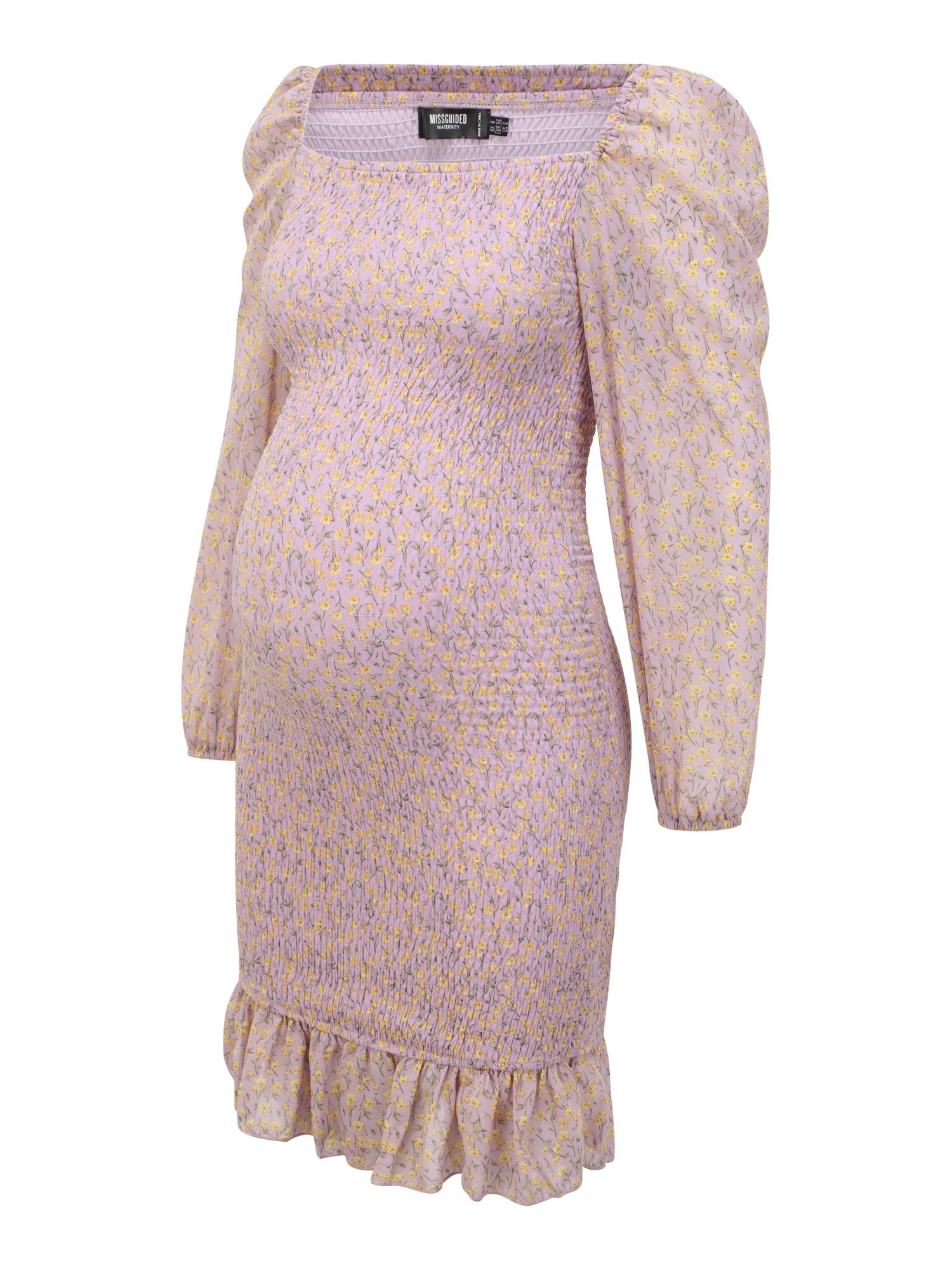 Missguided Maternity Suknelė purpurinė / geltona / rusvai žalia