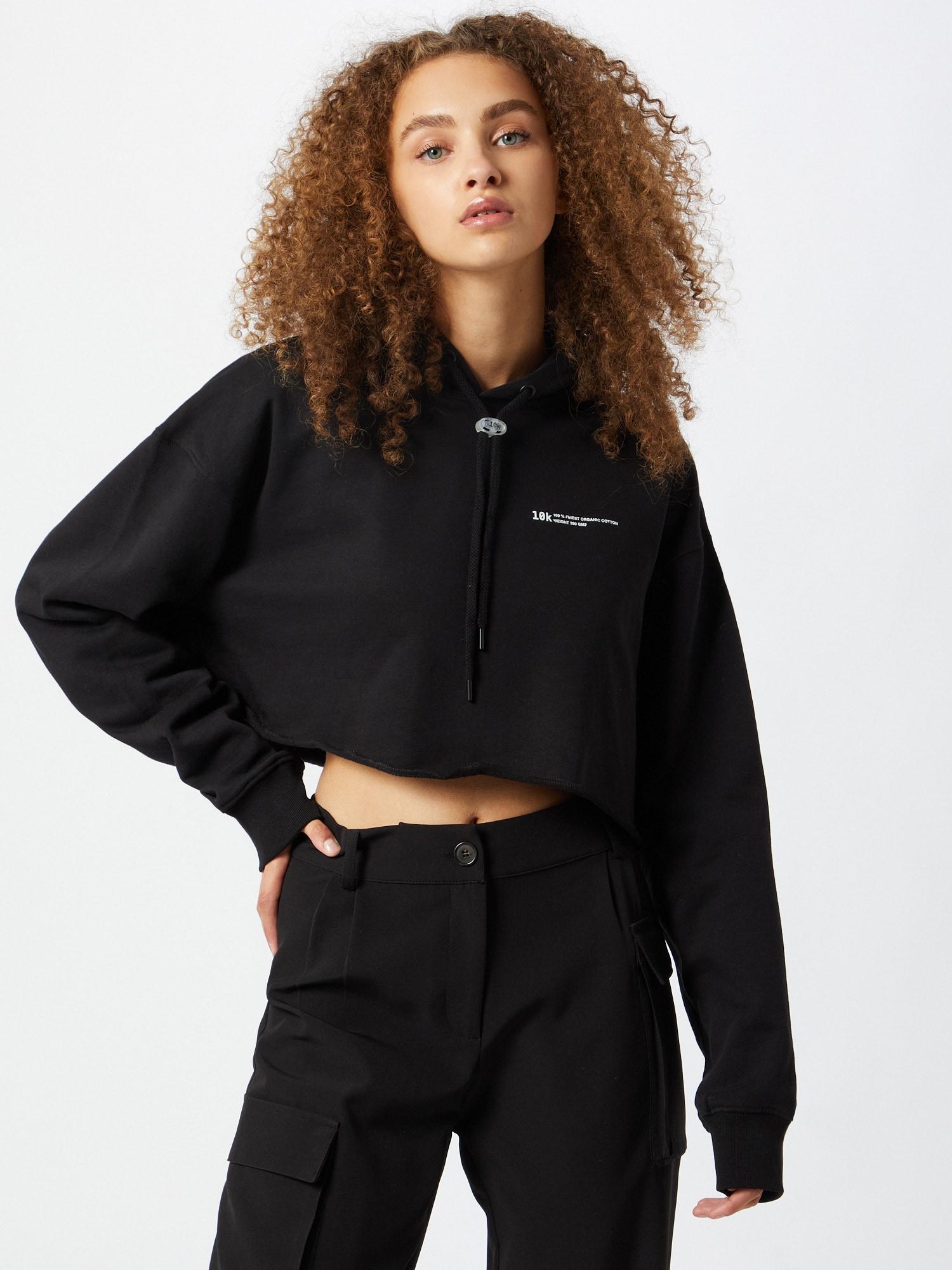 10k Sweatshirt 'Basic Cropped Hoodie'  svart