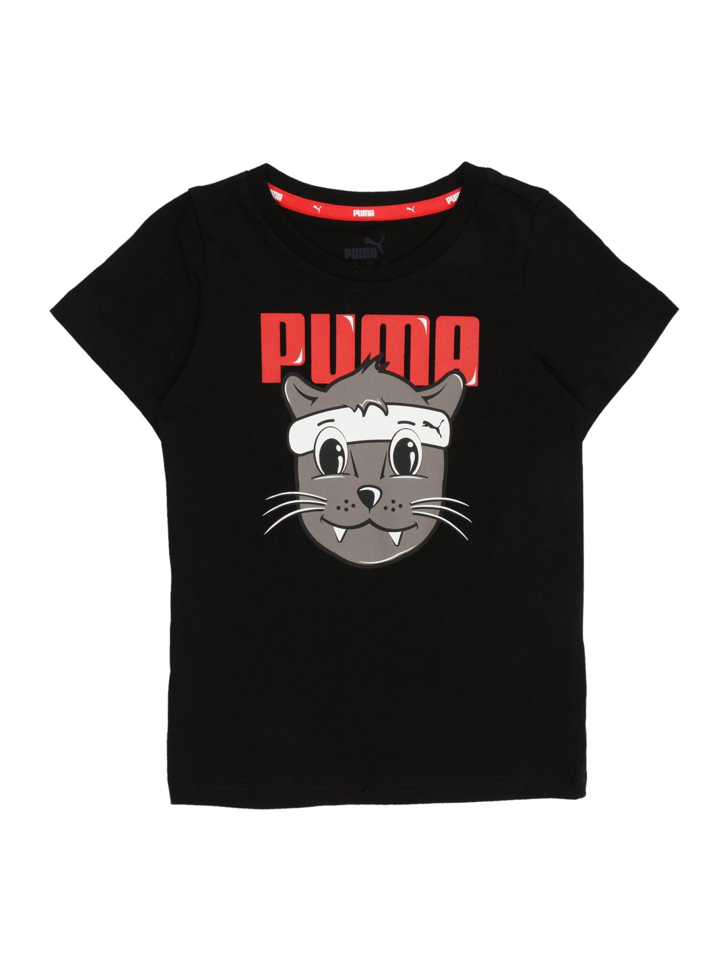 PUMA Tričko  černá / šedá / červená / bílá