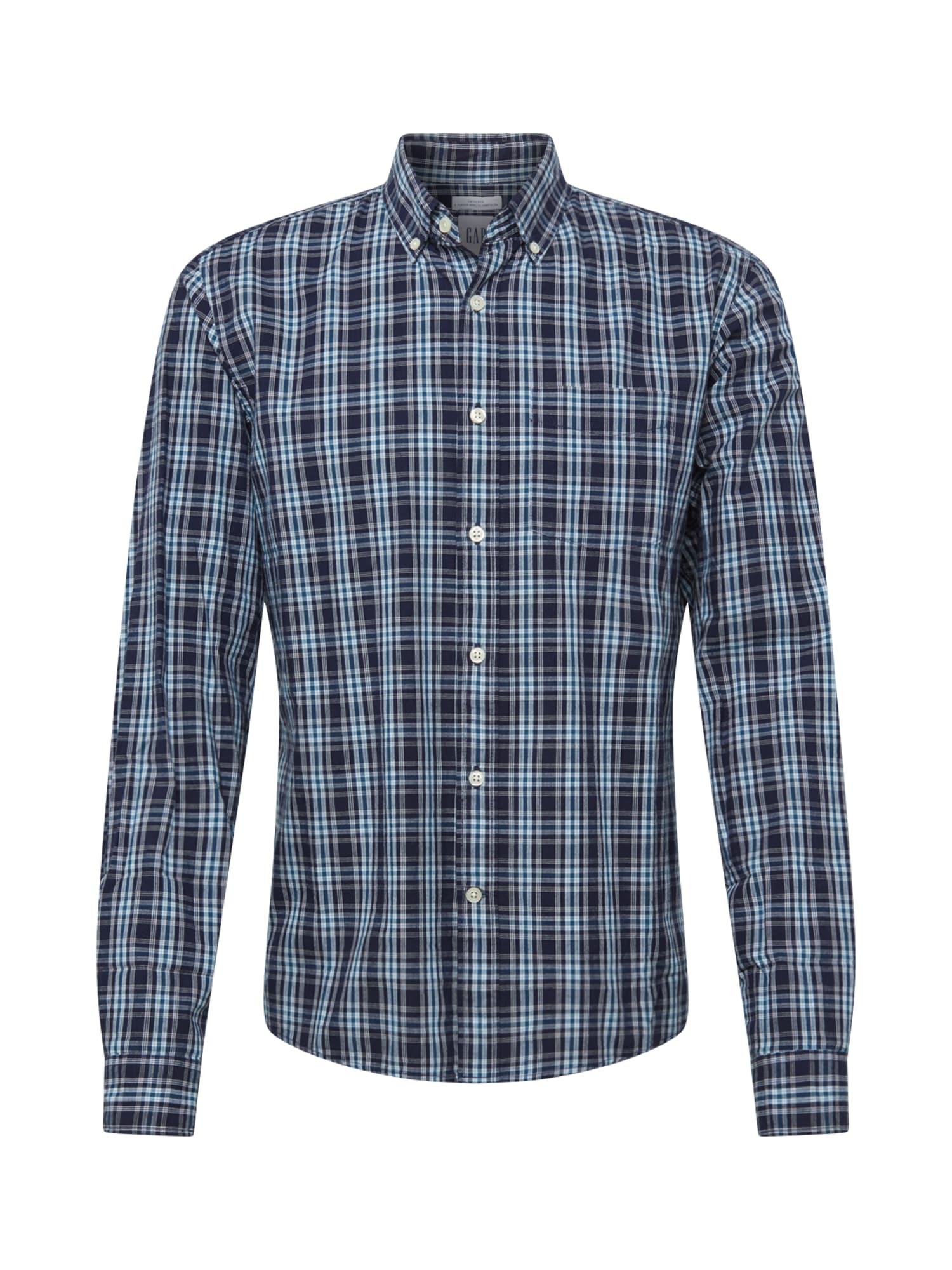 GAP Marškiniai tamsiai mėlyna / turkio spalva / balta