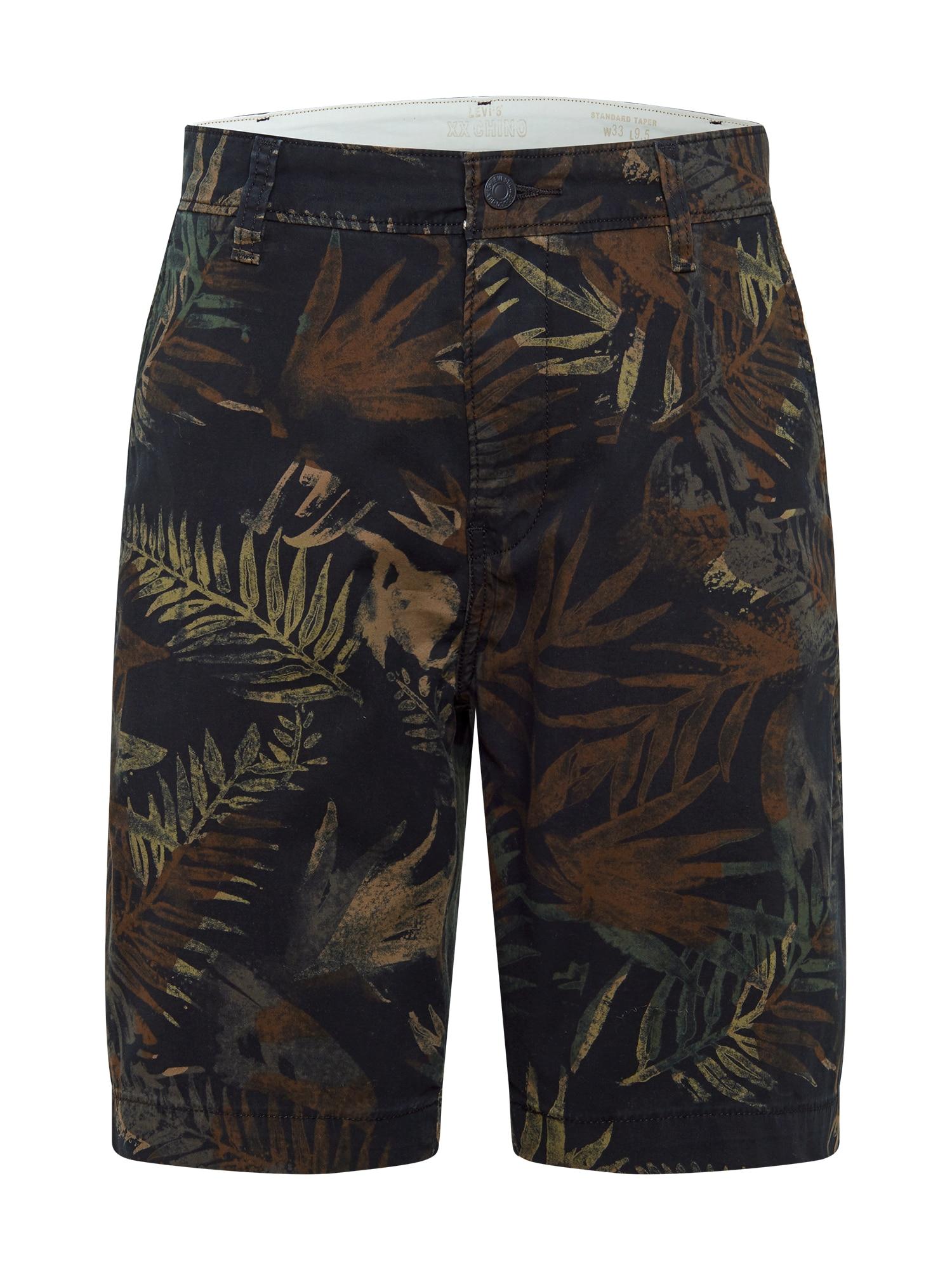 """LEVI'S """"Chino"""" stiliaus kelnės juoda / tamsiai žalia / rusvai žalia"""