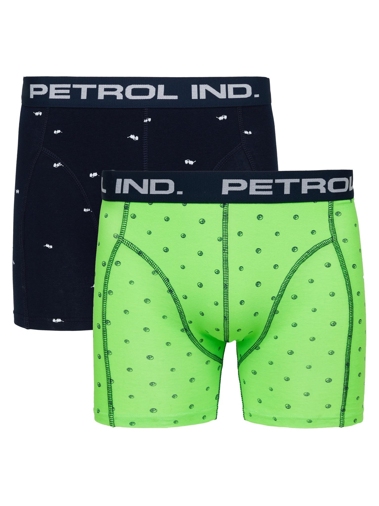 Petrol Industries Boxer trumpikės tamsiai mėlyna / kivių spalva / šviesiai pilka / balta