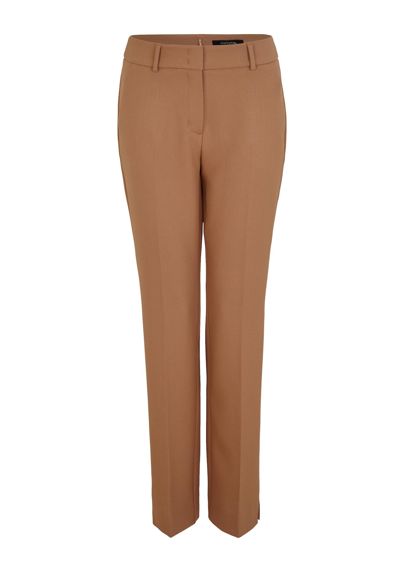 COMMA Kelnės su kantu ruda