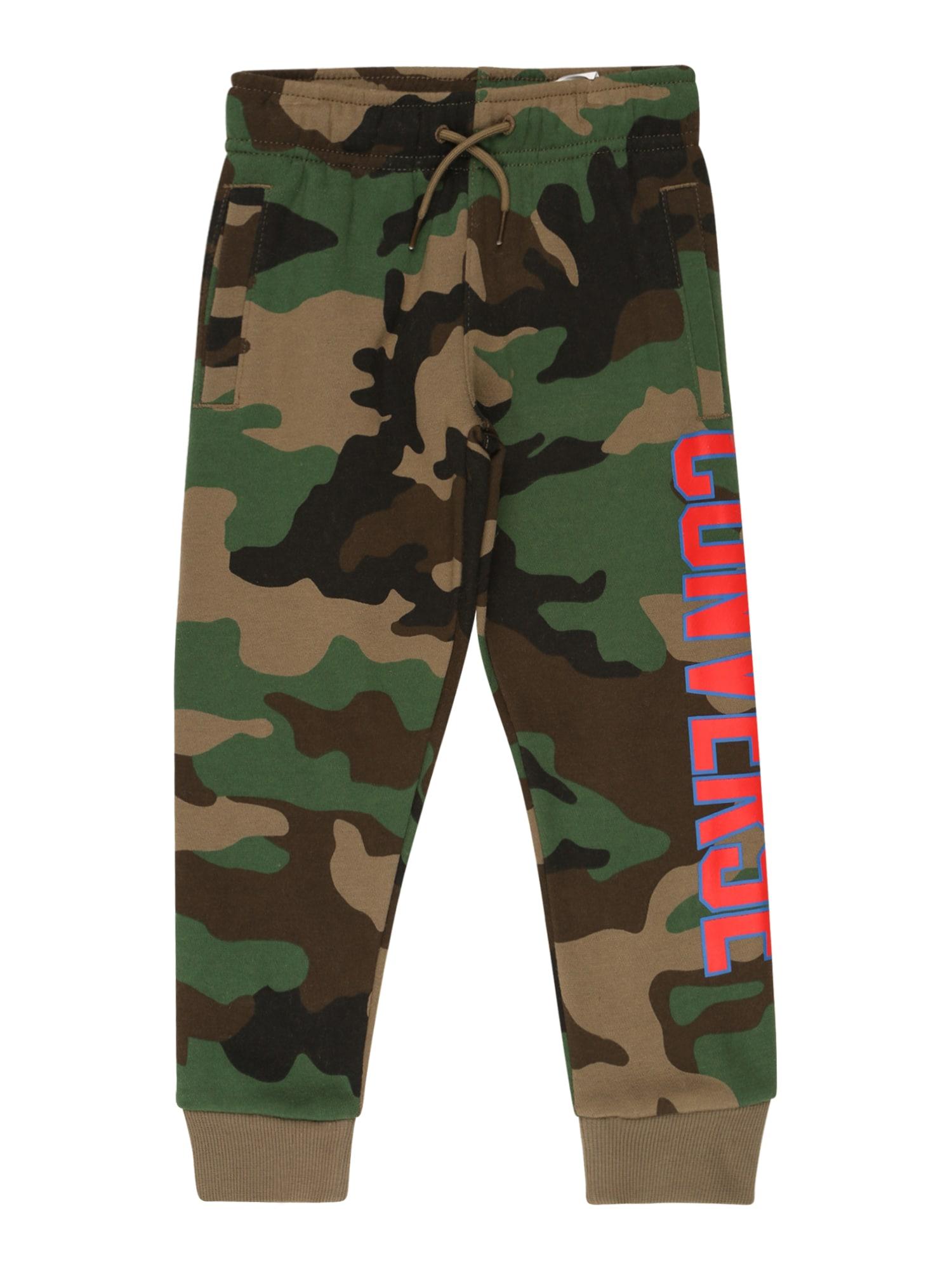 CONVERSE Kalhoty  zelená / khaki / hnědá / svítivě růžová