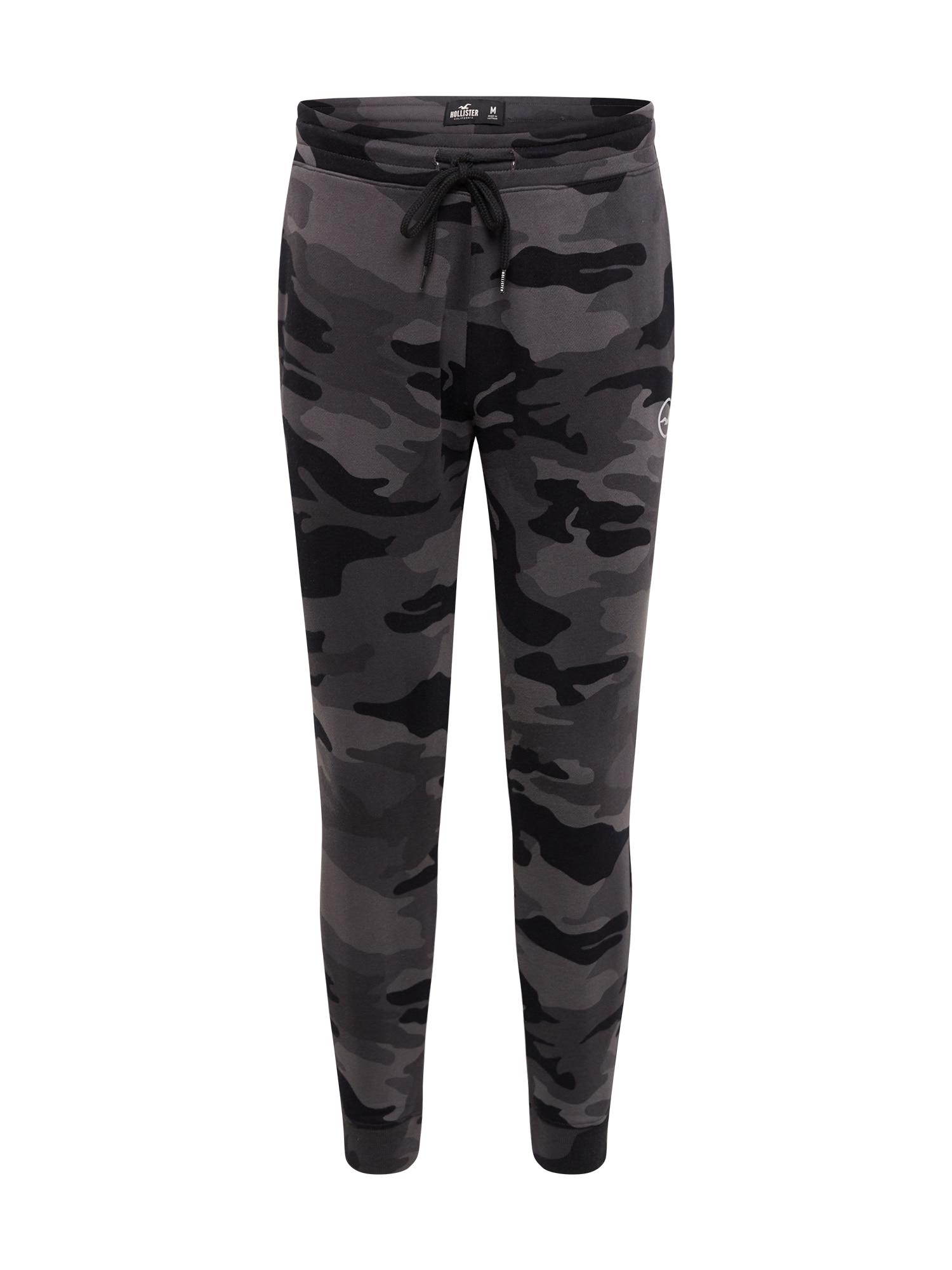 HOLLISTER Kalhoty  černá / šedá / světle šedá