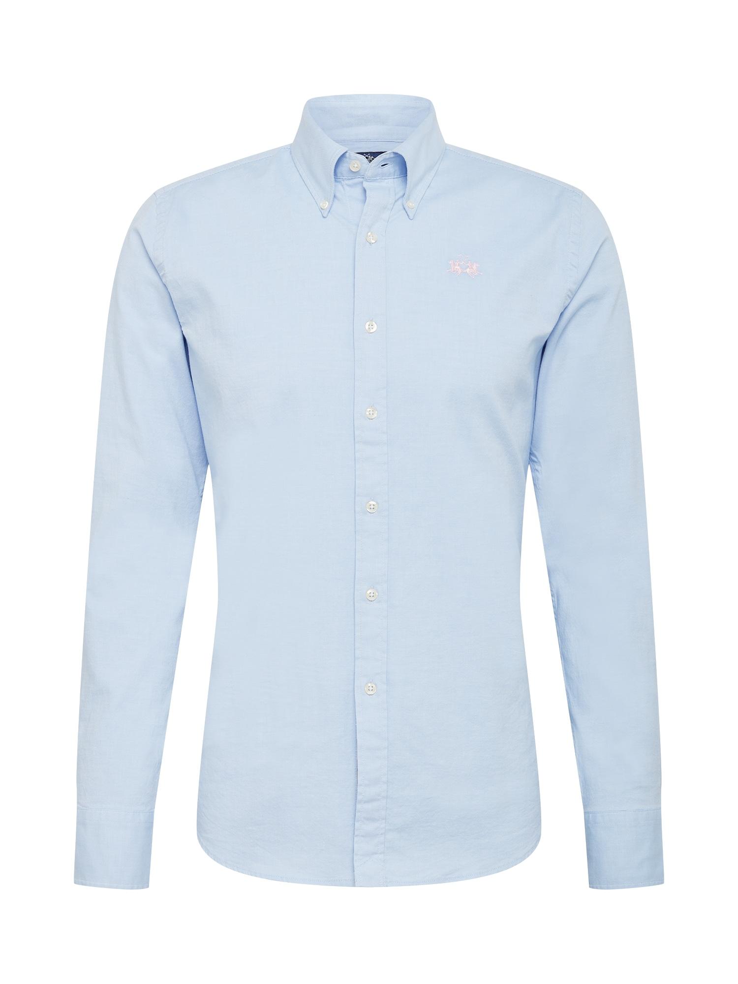 La Martina Dalykinio stiliaus marškiniai šviesiai mėlyna / geltona