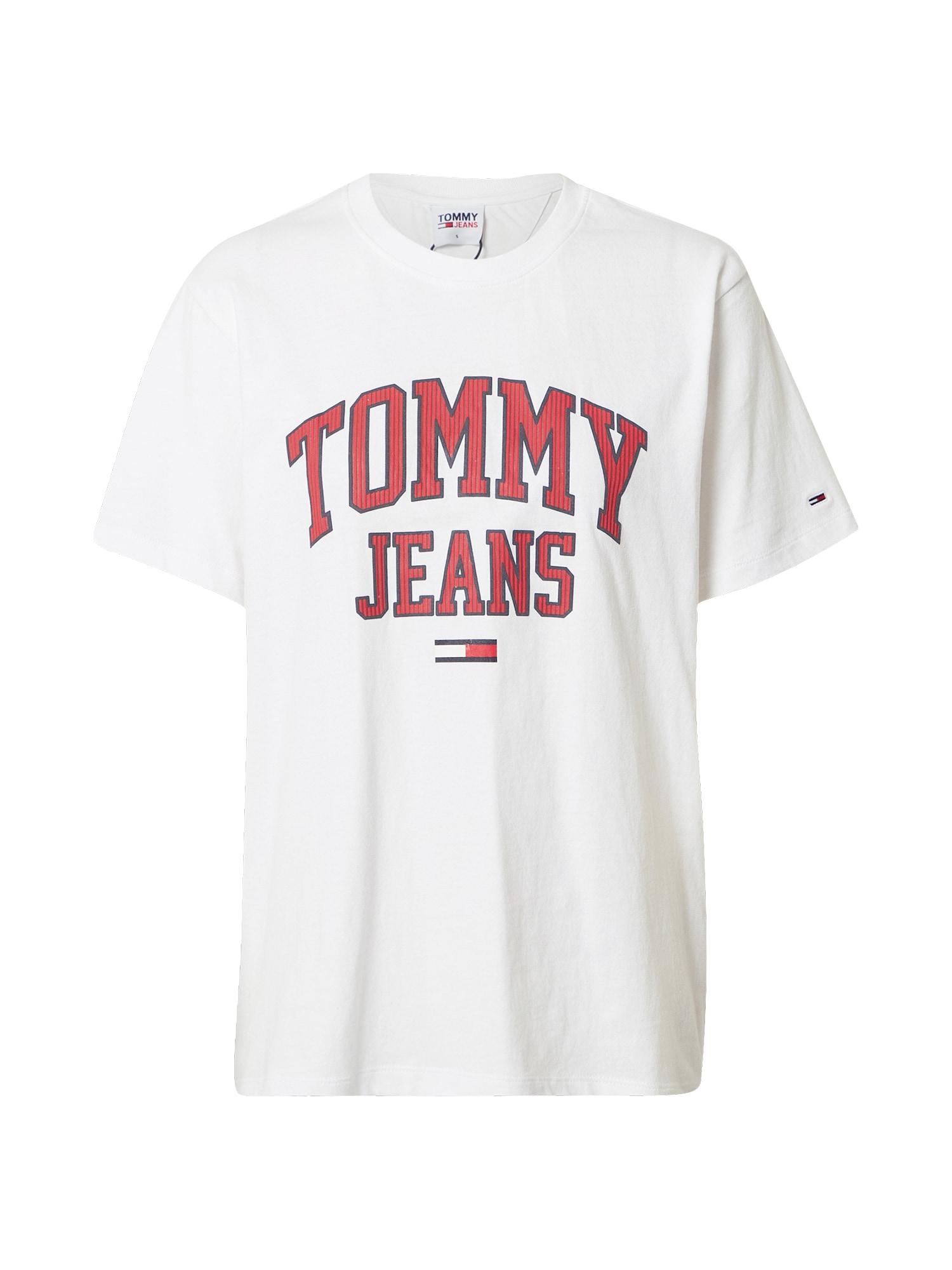 Tommy Jeans Tričko  bílá / červená / kobaltová modř