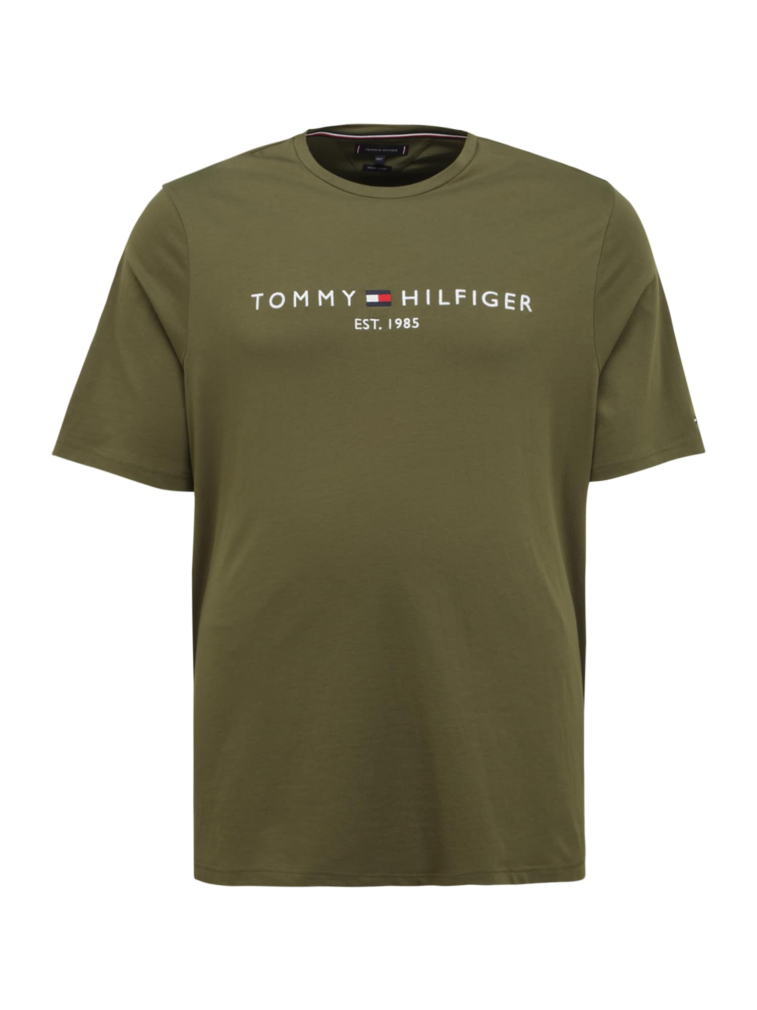 Tommy Hilfiger Big & Tall Marškinėliai alyvuogių spalva / balta