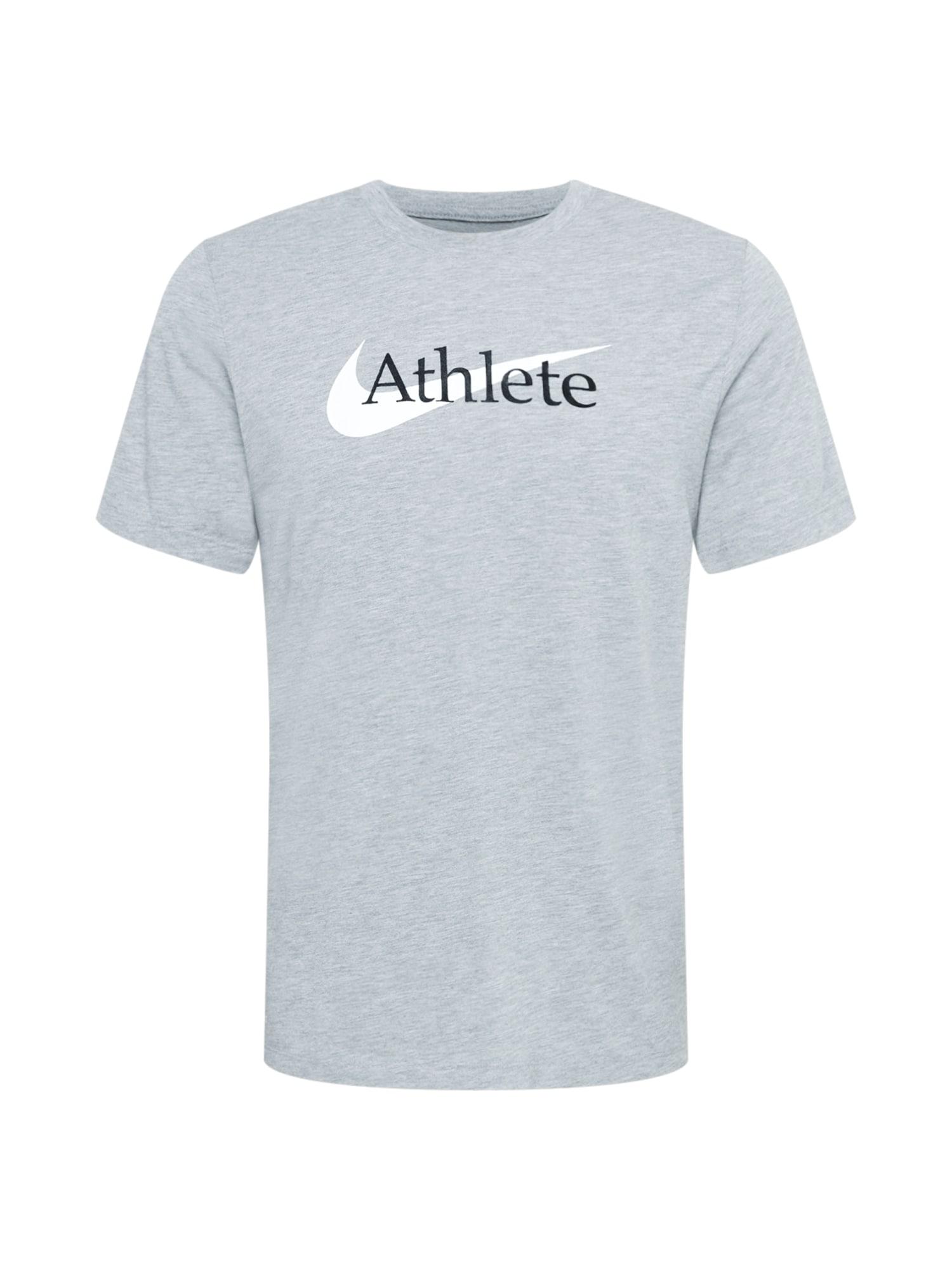 NIKE Funkční tričko  černá / světle šedá / bílá