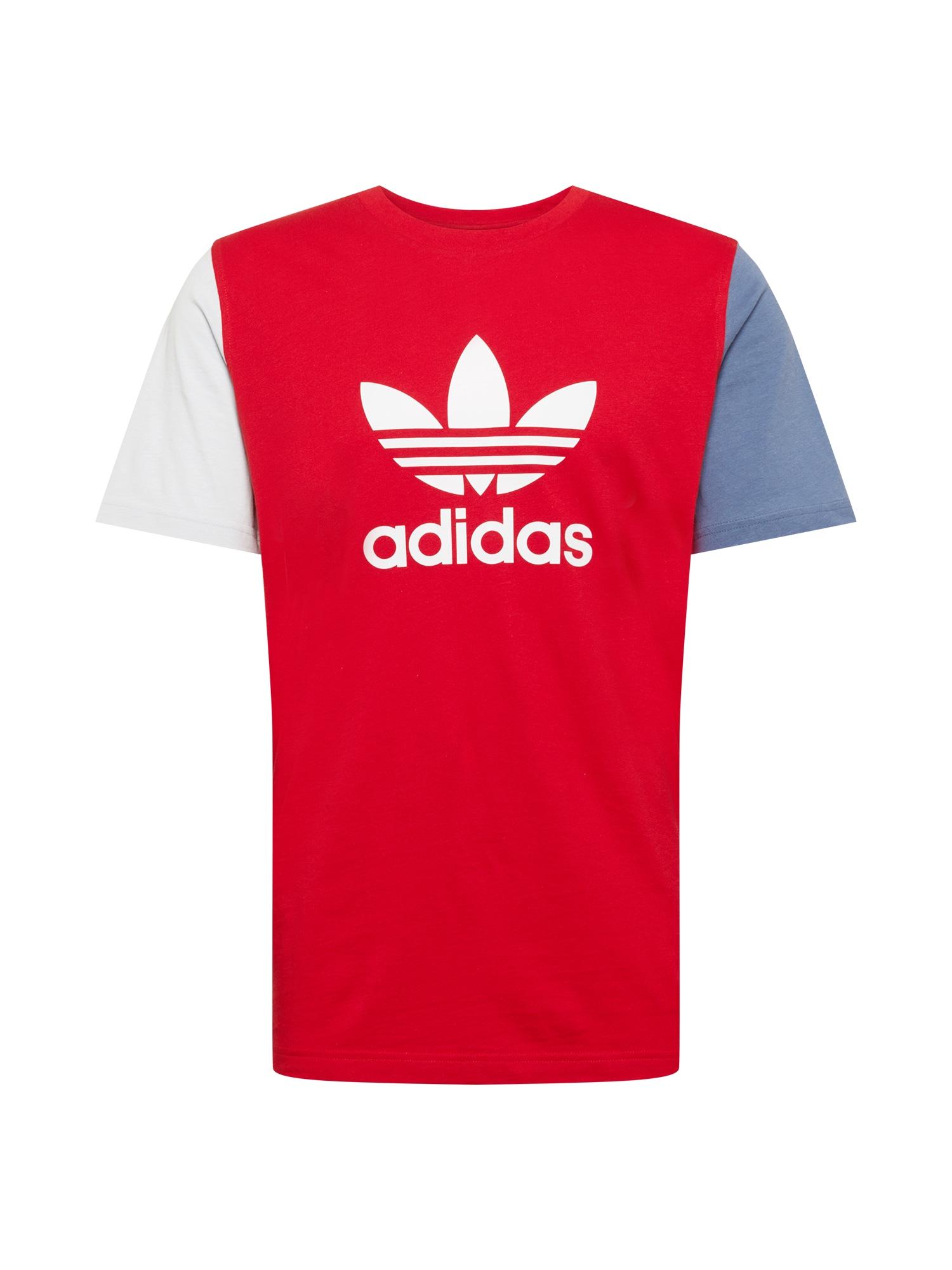 ADIDAS ORIGINALS Marškinėliai 'TREFOIL' raudona / balta / melsvai pilka