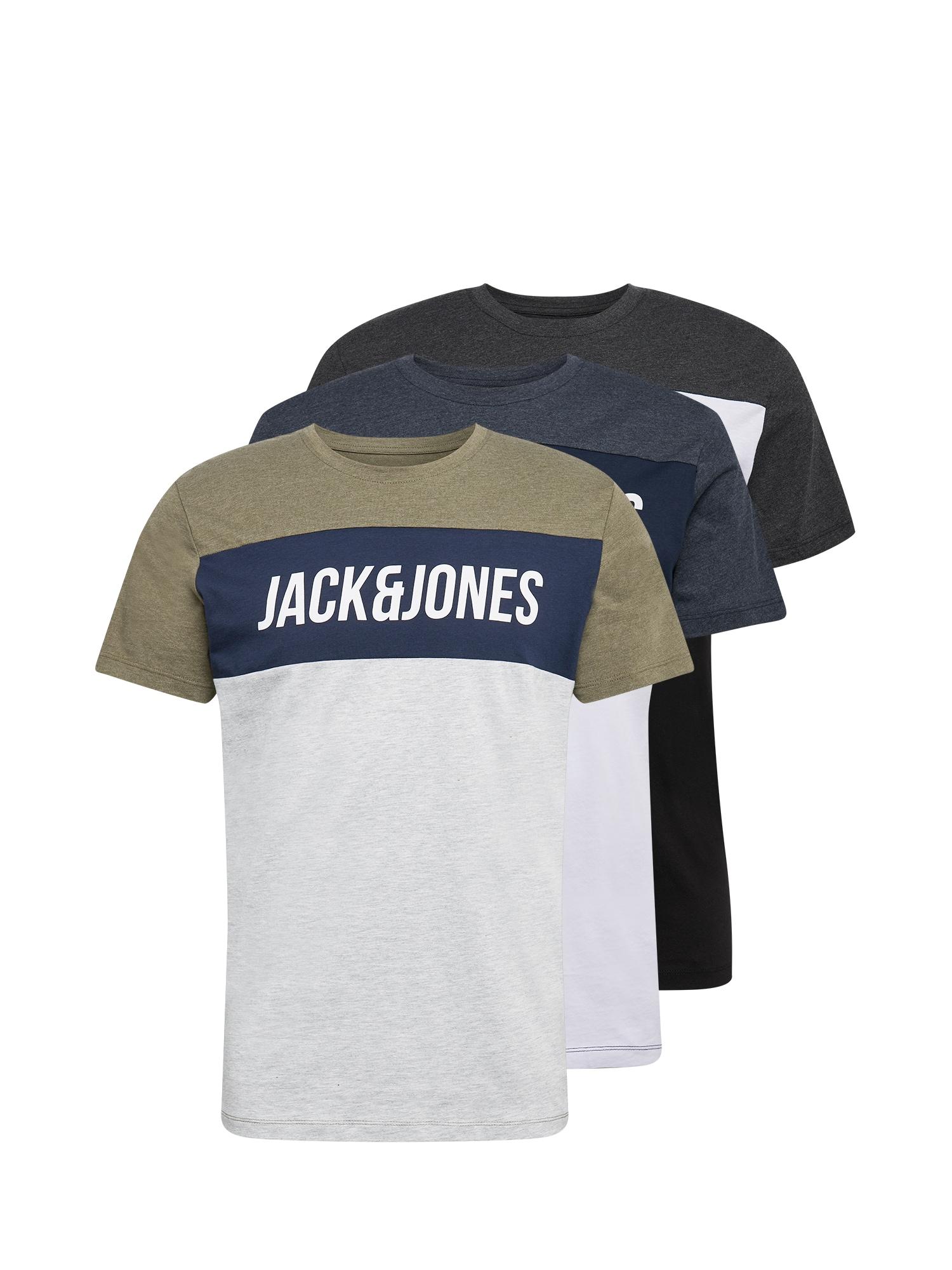 JACK & JONES Tričko 'TEMP'  šedá / bílá / černá