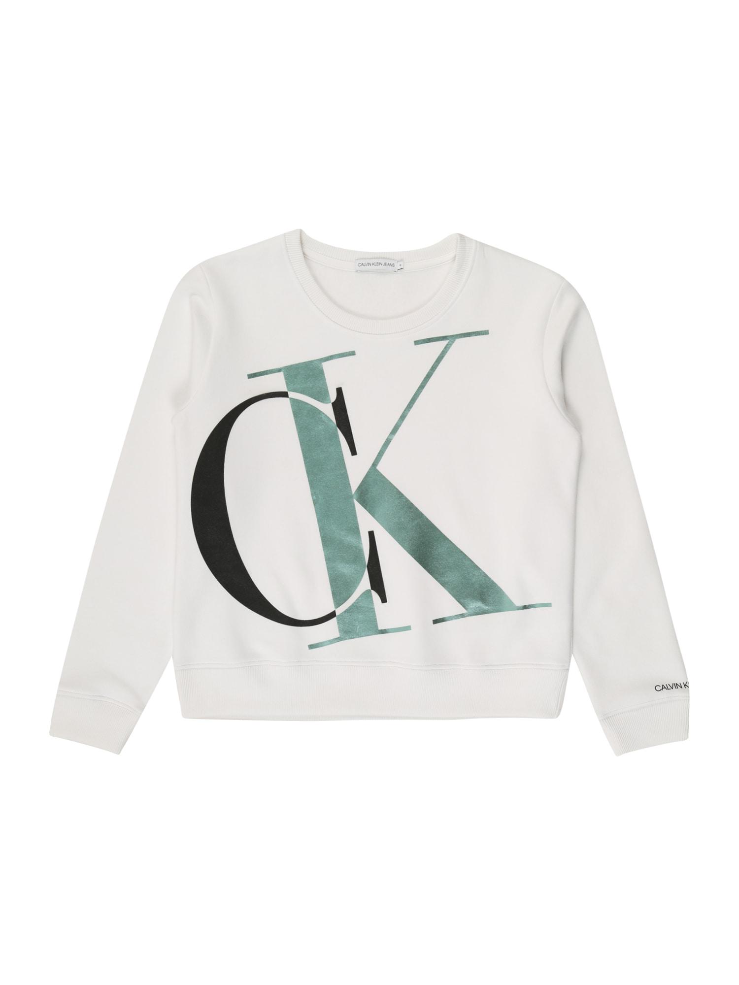 Calvin Klein Jeans Mikina 'EXPLODED MONOGRAM BXY SWEATSHIRT'  bílá