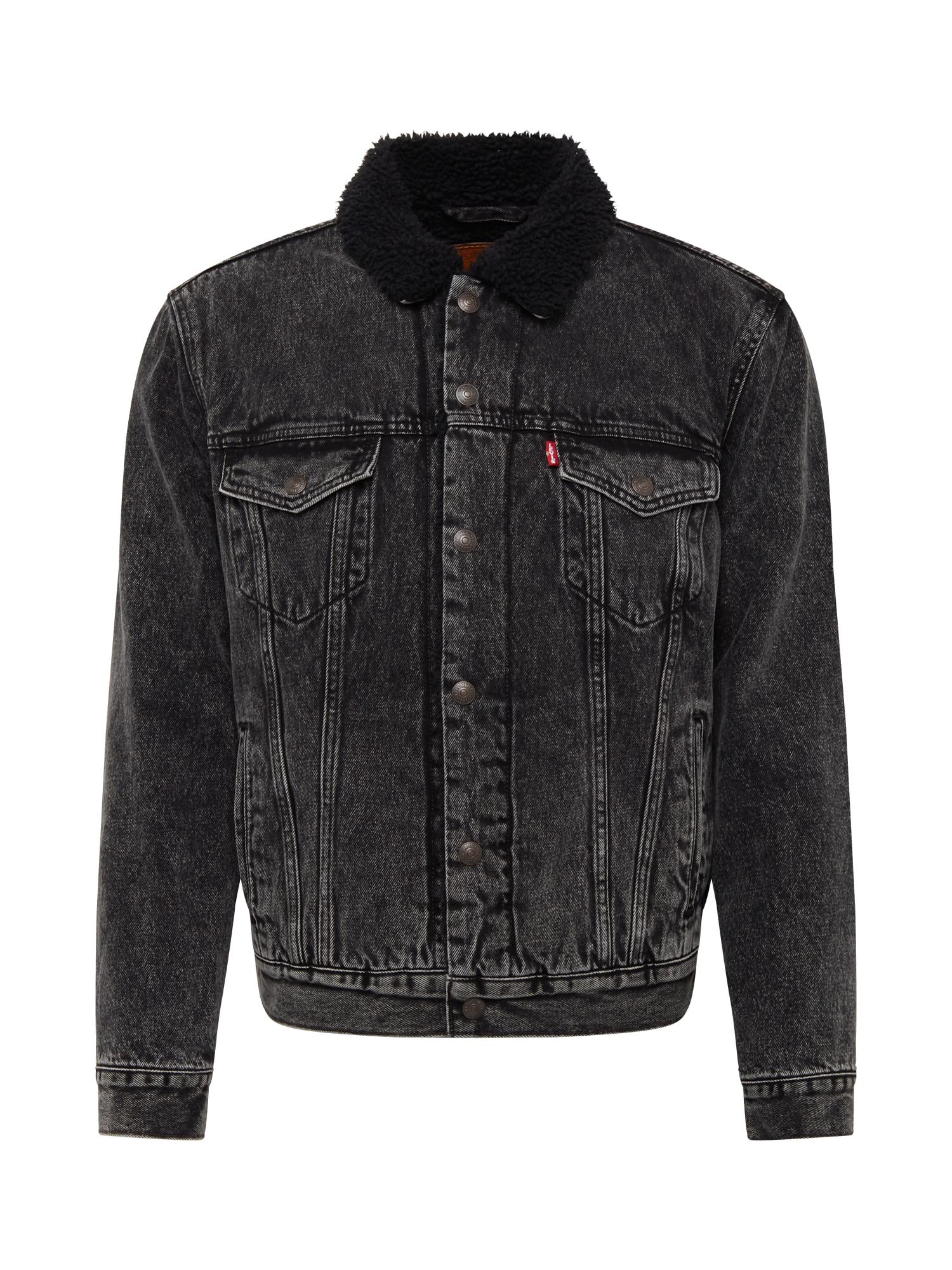 LEVI'S Demisezoninė striukė 'SHERPA' juodo džinso spalva