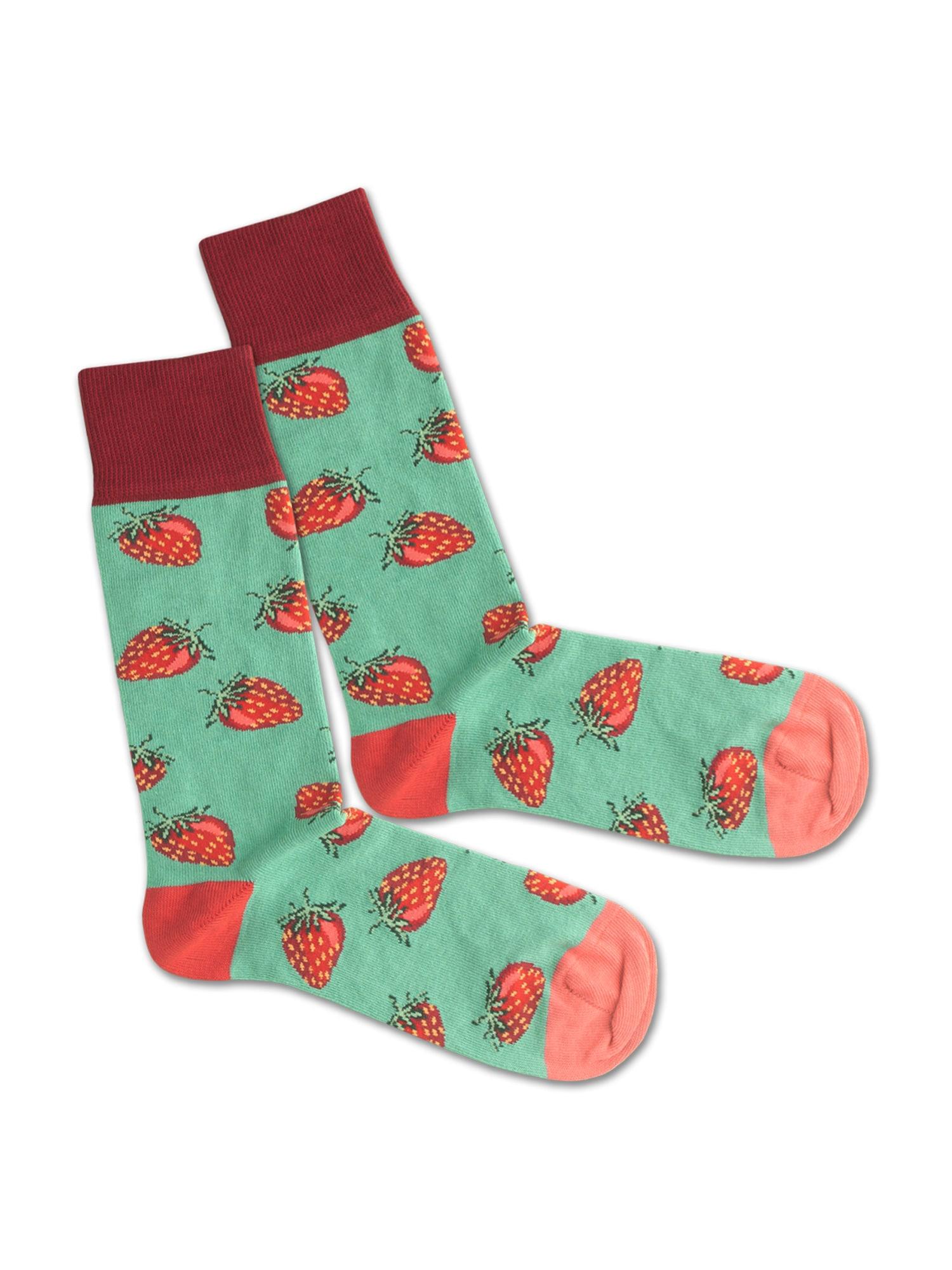 DillySocks Ponožky 'Strawberry Field'  růžová / zelená / červená
