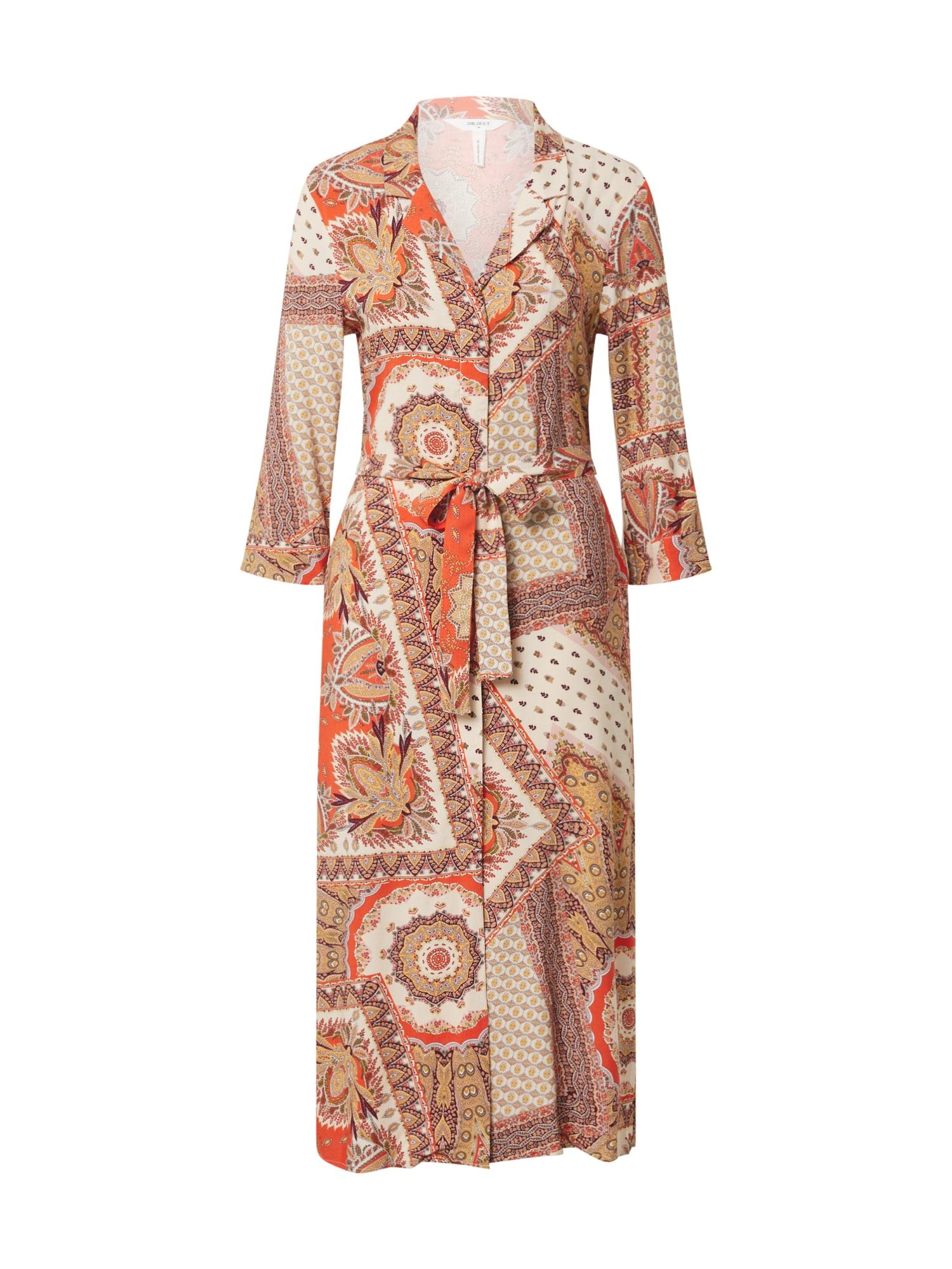 OBJECT Košilové šaty 'Sun'  oranžová / bílá
