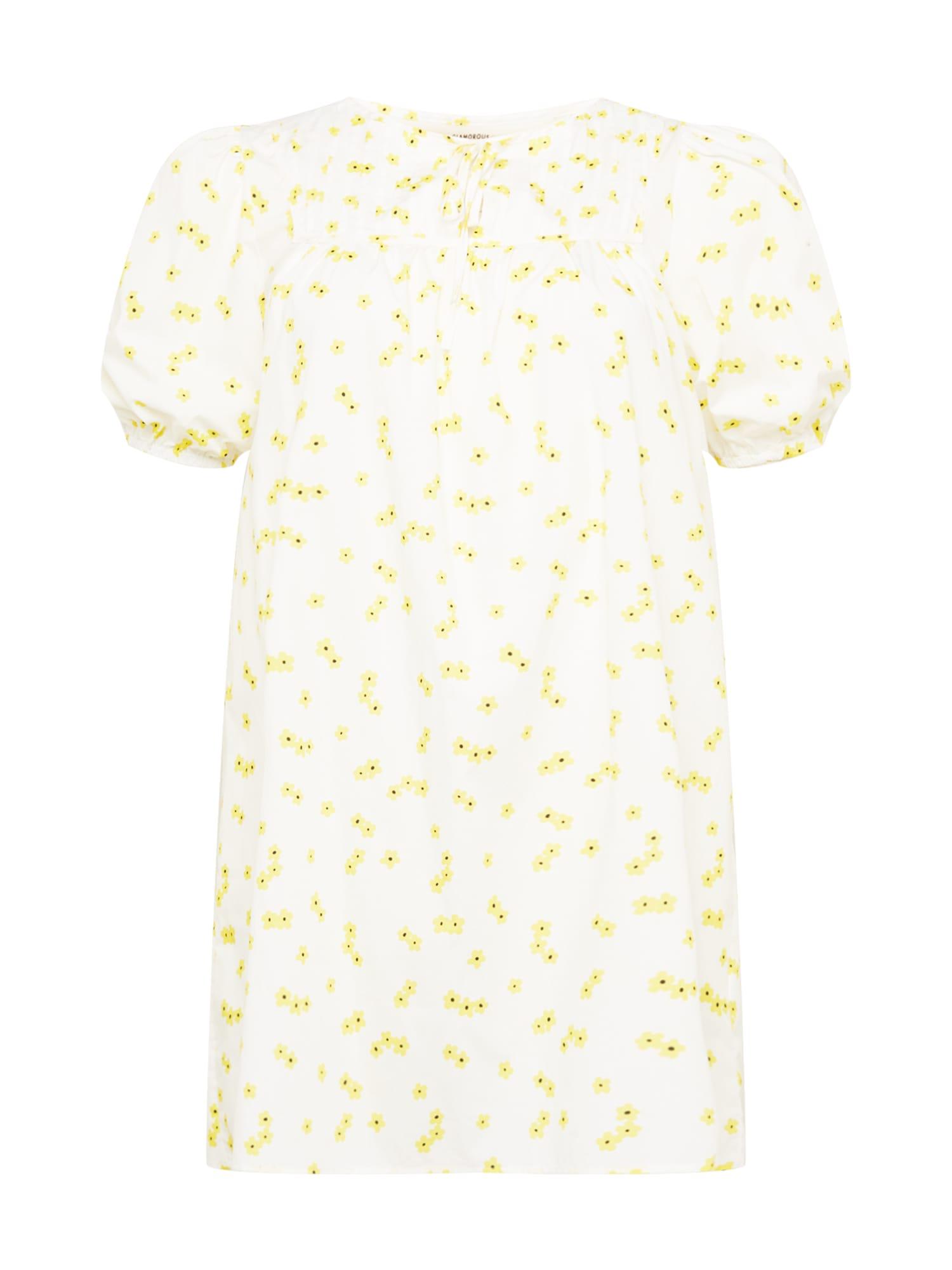 GLAMOROUS CURVE Suknelė geltona / balta / juoda