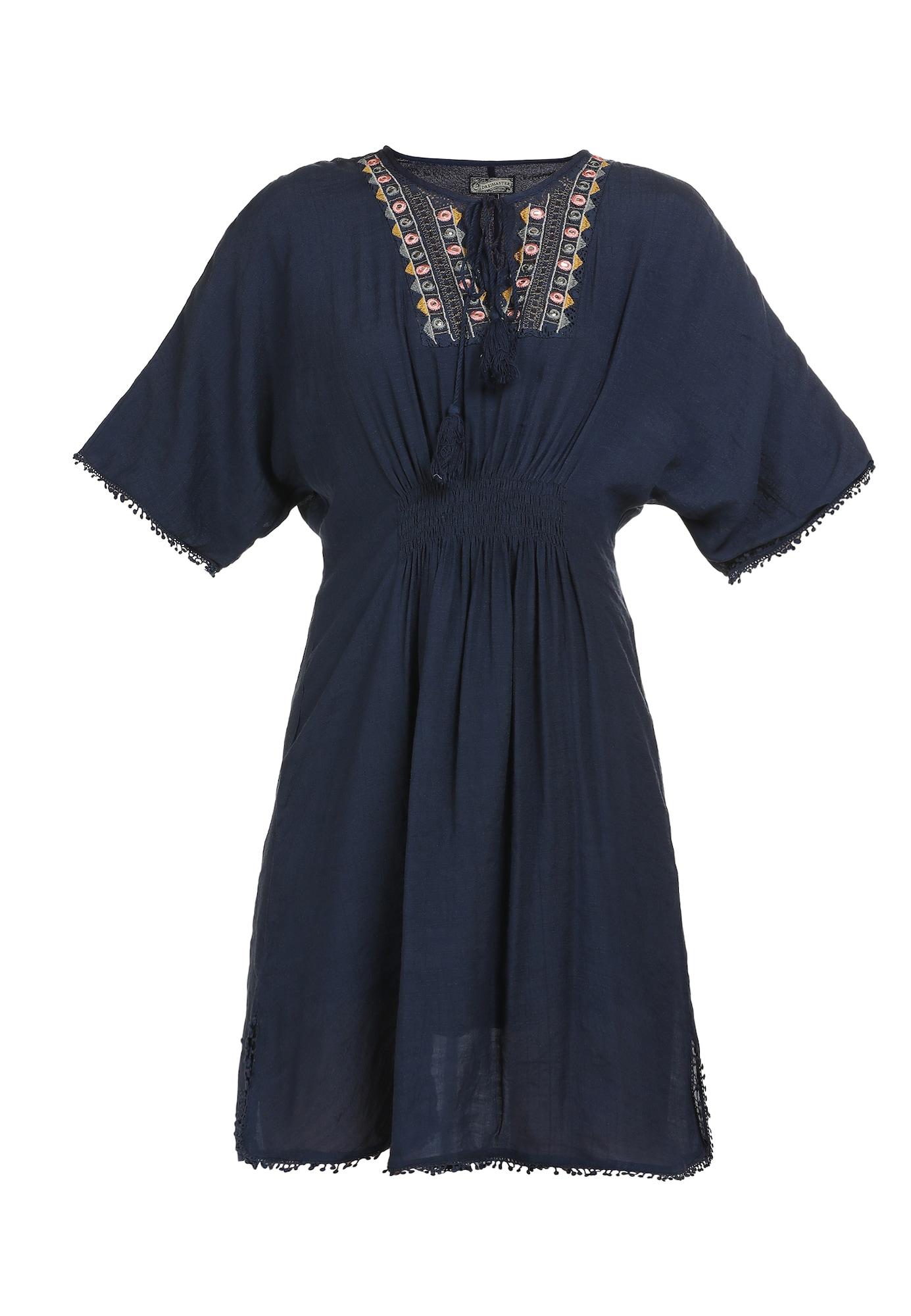 DreiMaster Vintage Vasarinė suknelė tamsiai mėlyna jūros spalva / ryškiai rožinė spalva / kario spalva / opalo
